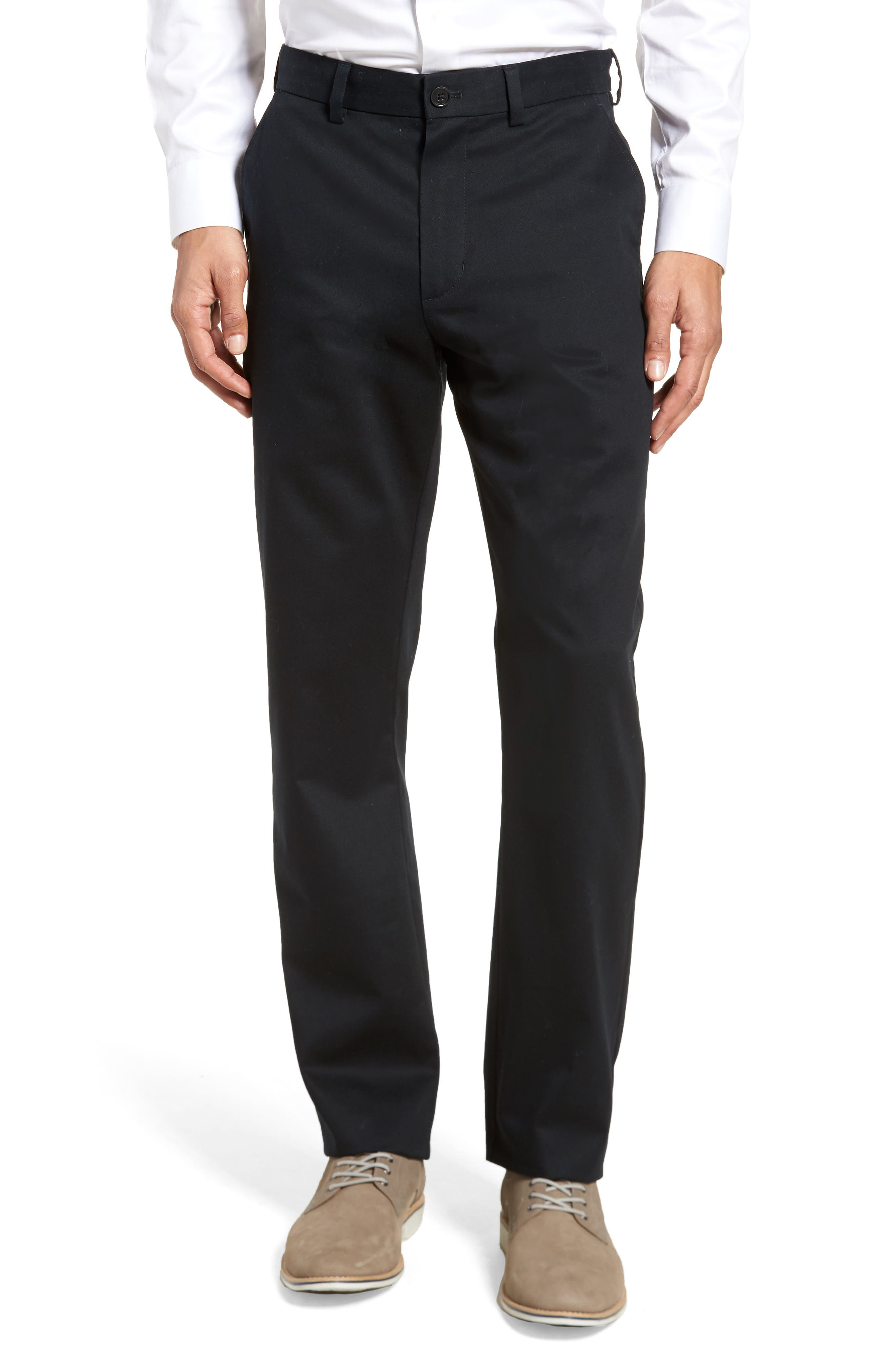 NORDSTROM MEN'S SHOP, Wrinkle Free Straight Leg Chinos, Main thumbnail 1, color, ANTHRACITE