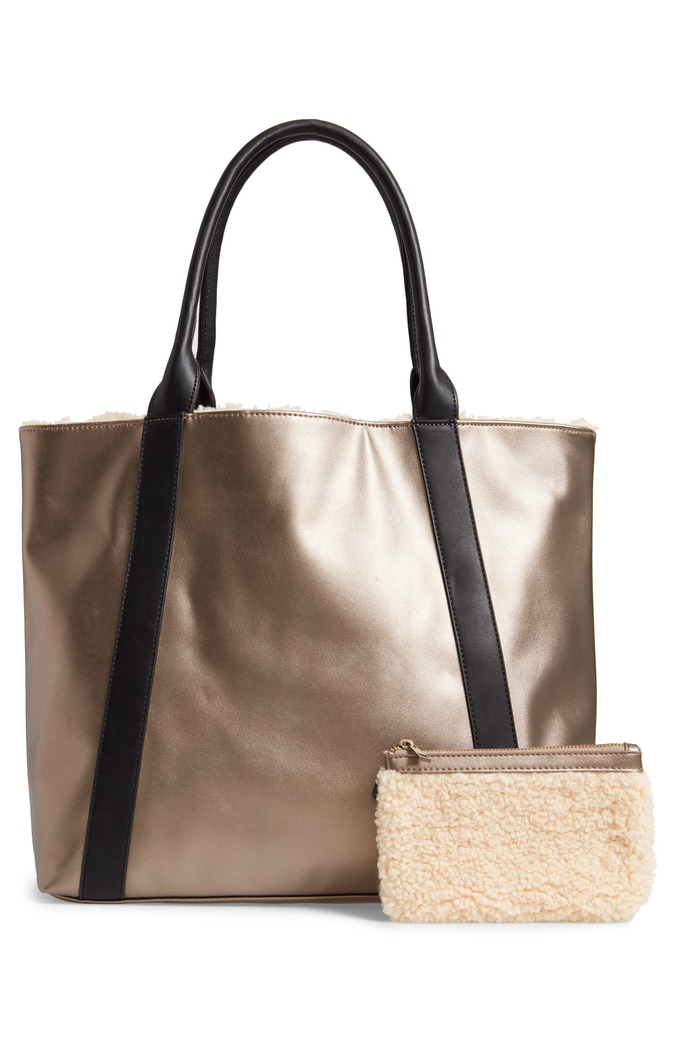 SOLE SOCIETY, Drury Faux Shearling Reversible Tote, Alternate thumbnail 4, color, PEWTER COMBO