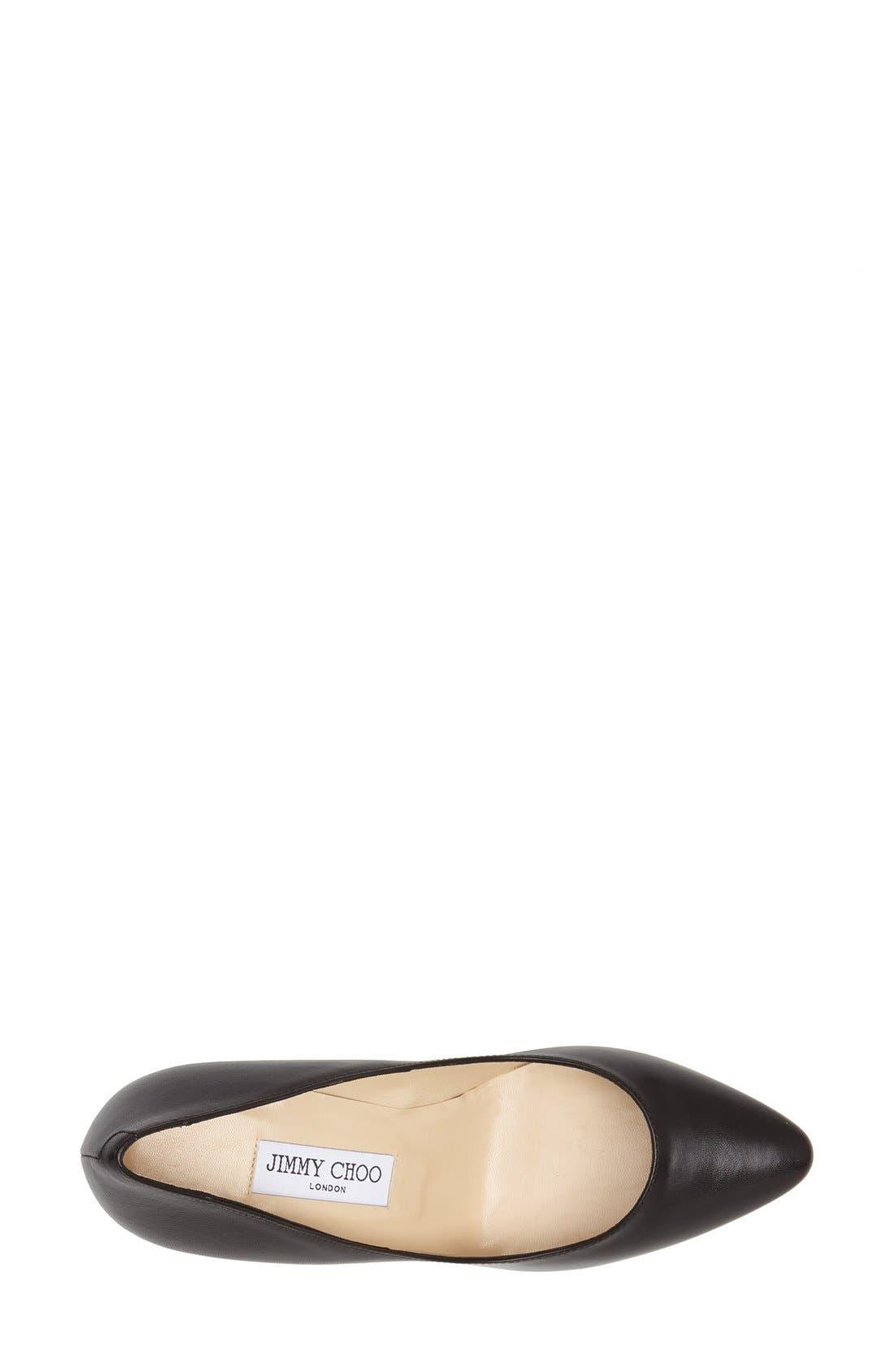 JIMMY CHOO, 'Mei' Almond Toe Leather Pump, Alternate thumbnail 2, color, 001
