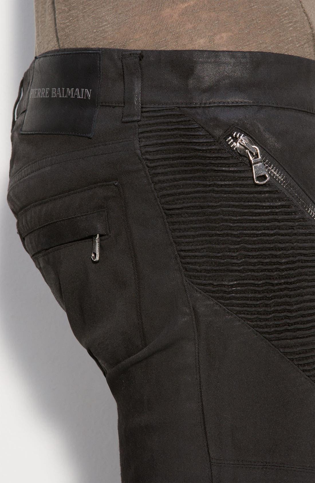 PIERRE BALMAIN, Waxed Cotton Stretch Pants, Alternate thumbnail 3, color, 001