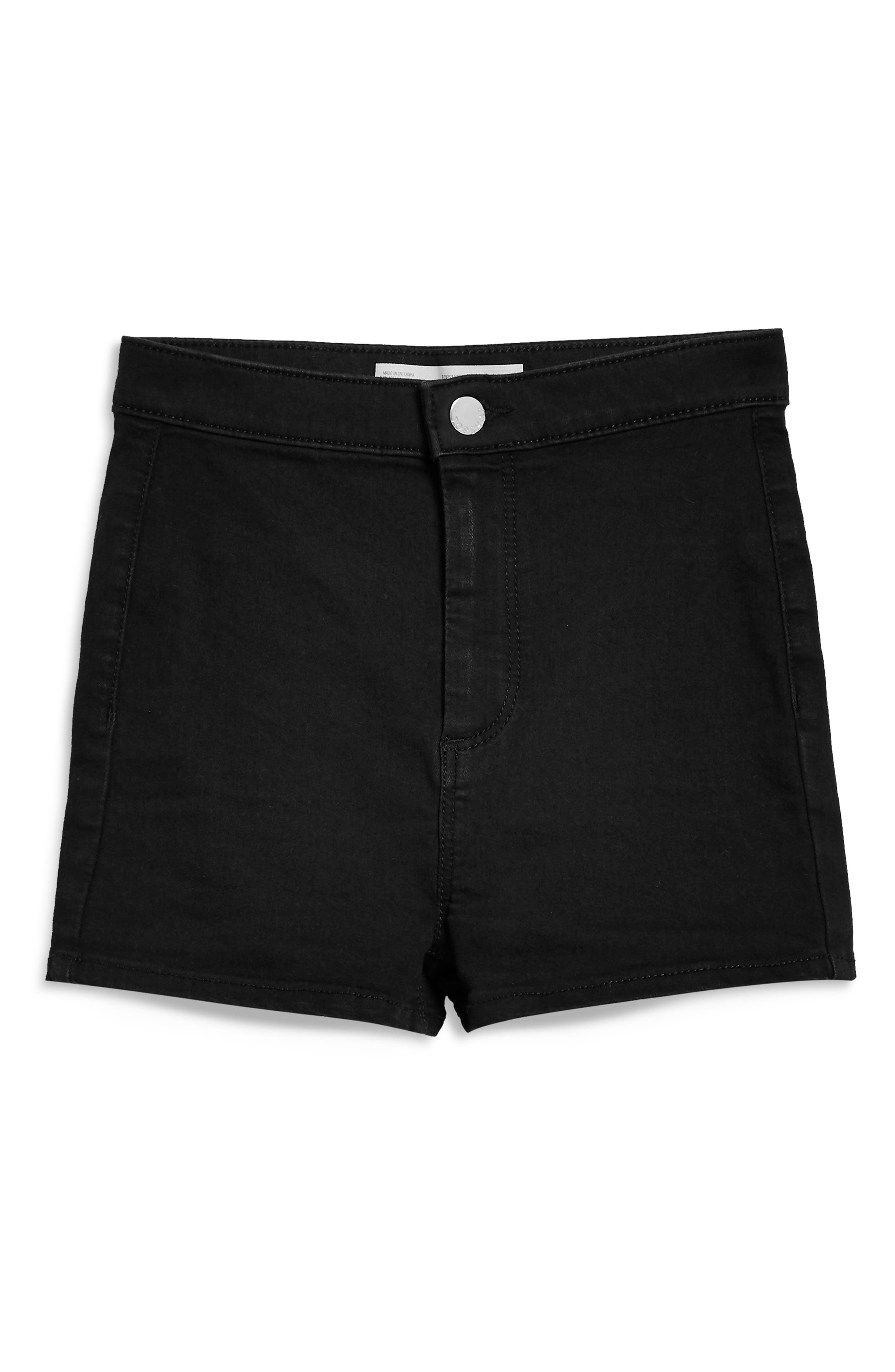 TOPSHOP, Joni High Waist Denim Shorts, Alternate thumbnail 4, color, BLACK
