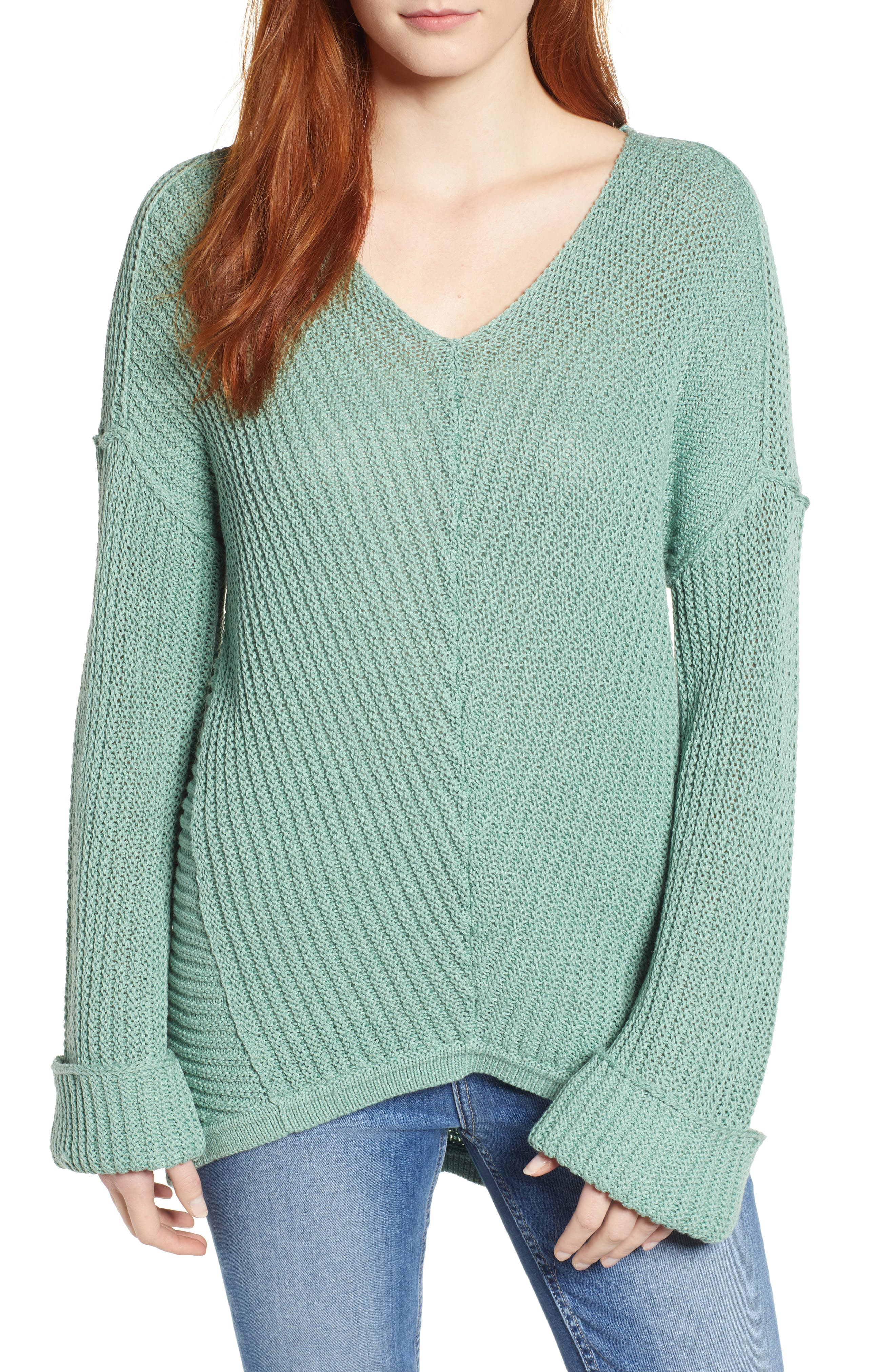 CASLON<SUP>®</SUP> Cuffed Sleeve Sweater, Main, color, GREEN WING