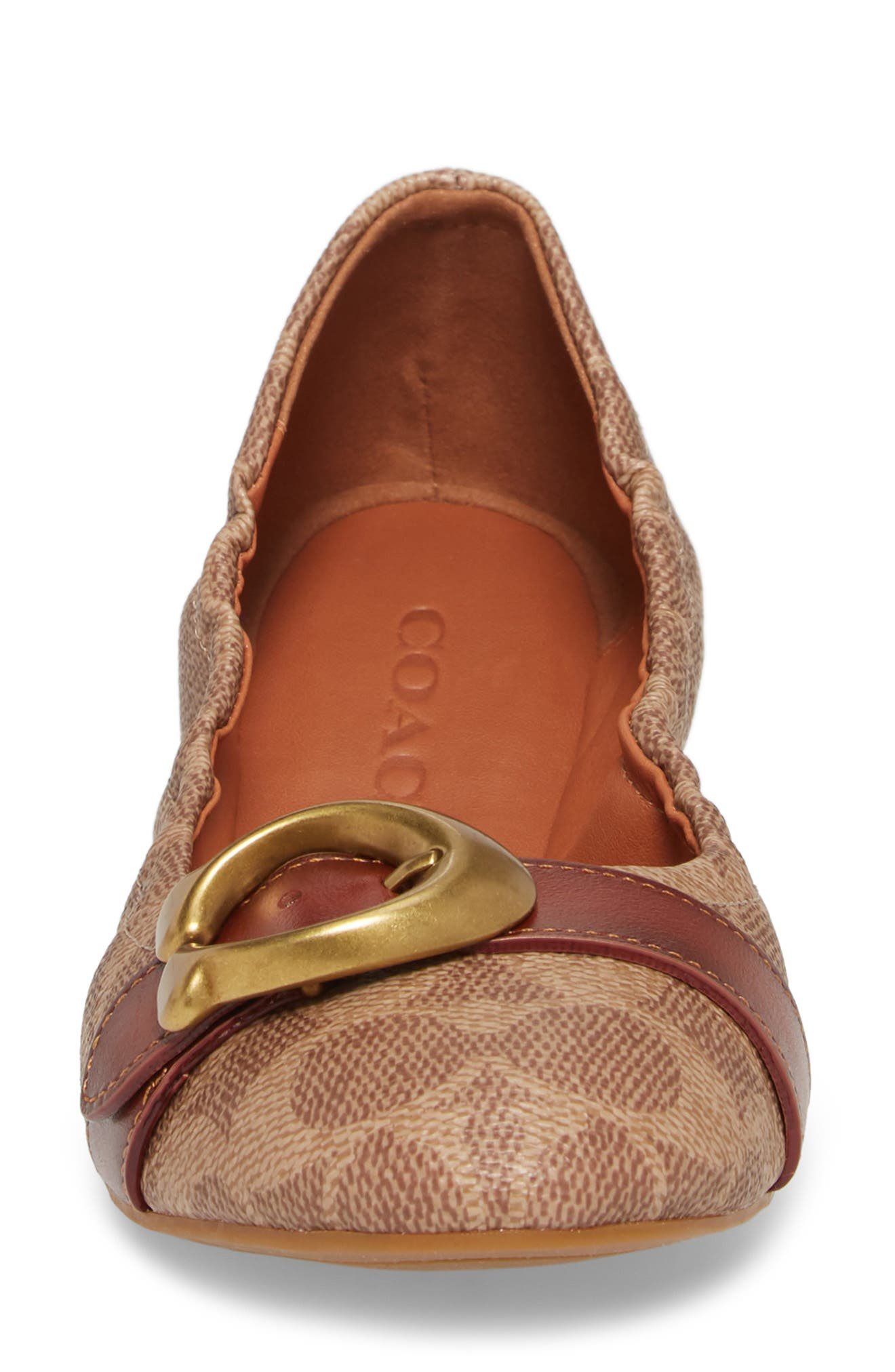 COACH, Stanton Buckle Flat, Alternate thumbnail 4, color, BROWN LEATHER