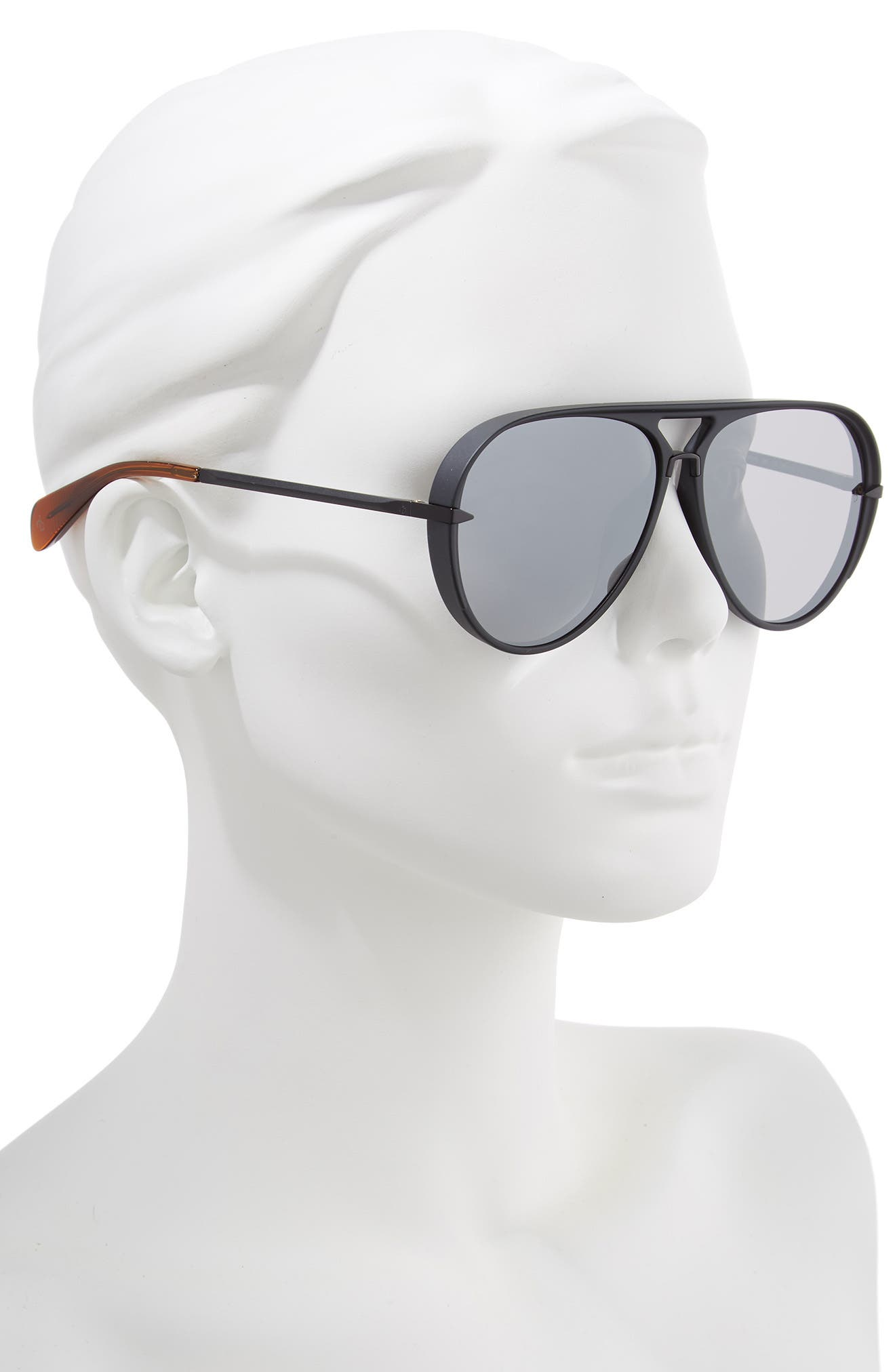RAG & BONE, 60mm Mirrored Aviator Sunglasses, Alternate thumbnail 2, color, MATTE BLACK