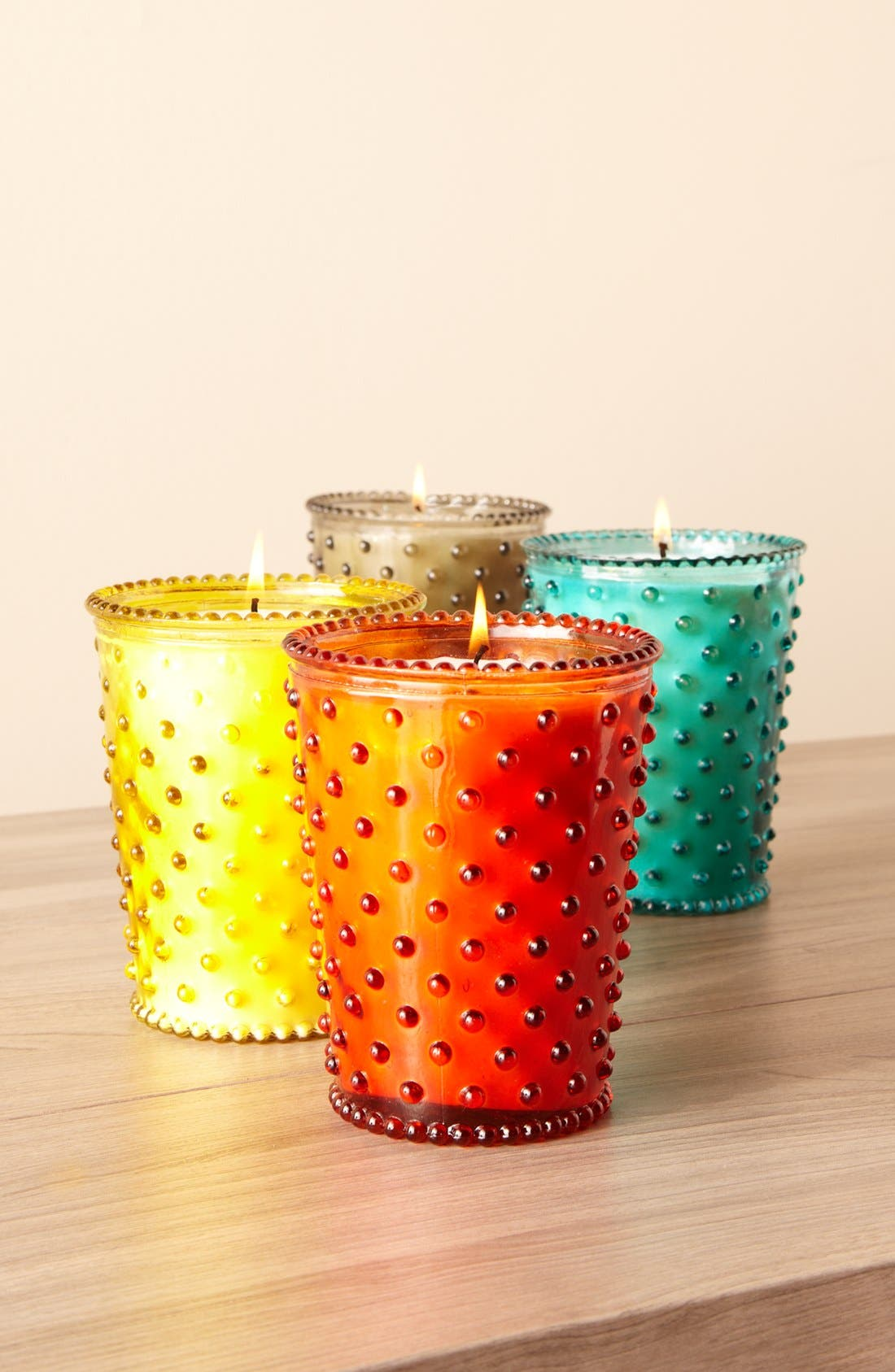 SIMPATICO, Hobnail Glass Candle, Alternate thumbnail 3, color, MIDNIGHT