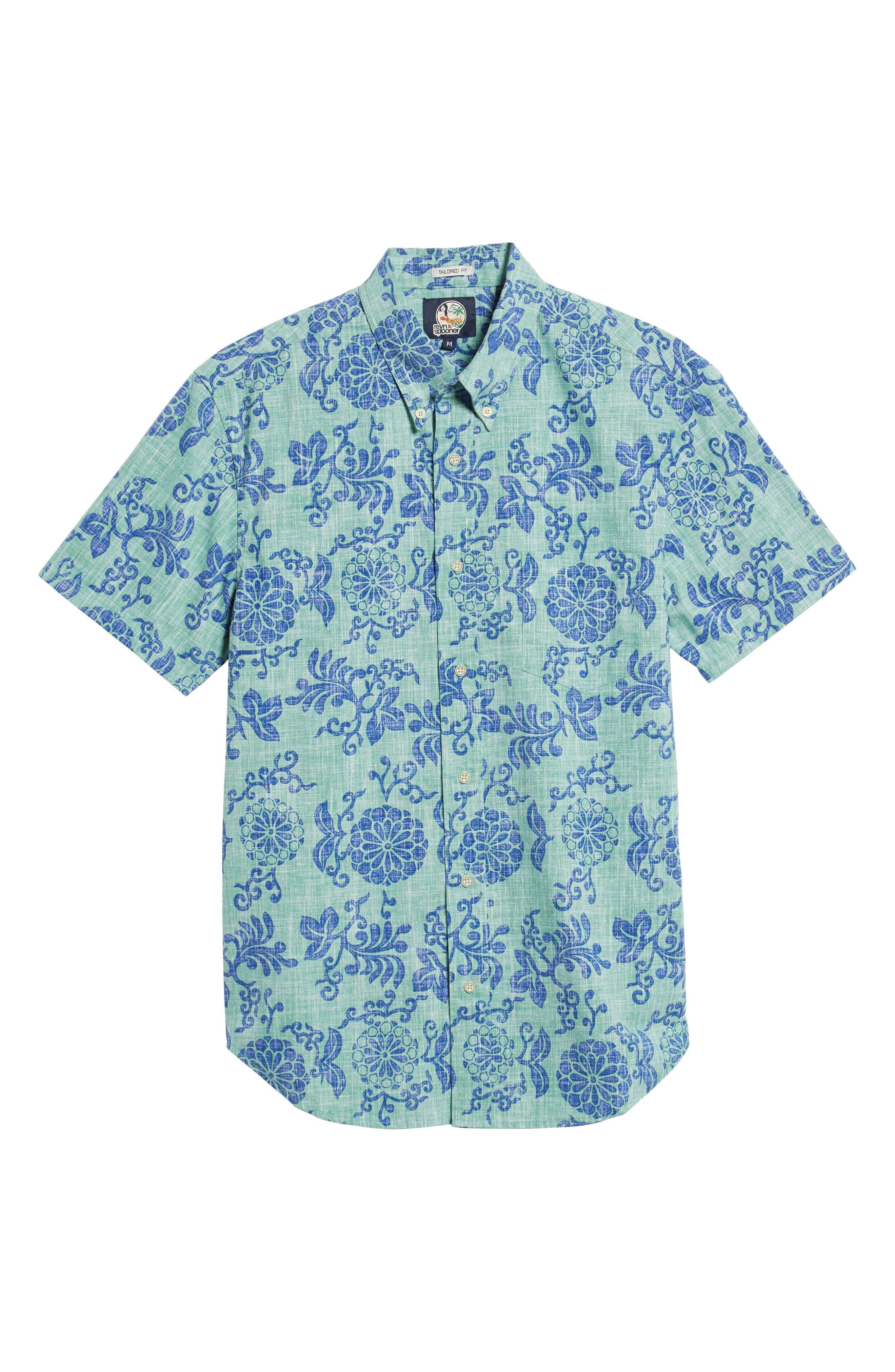 REYN SPOONER, Royal Chrysanthemums Regular Fit Sport Shirt, Alternate thumbnail 5, color, 310