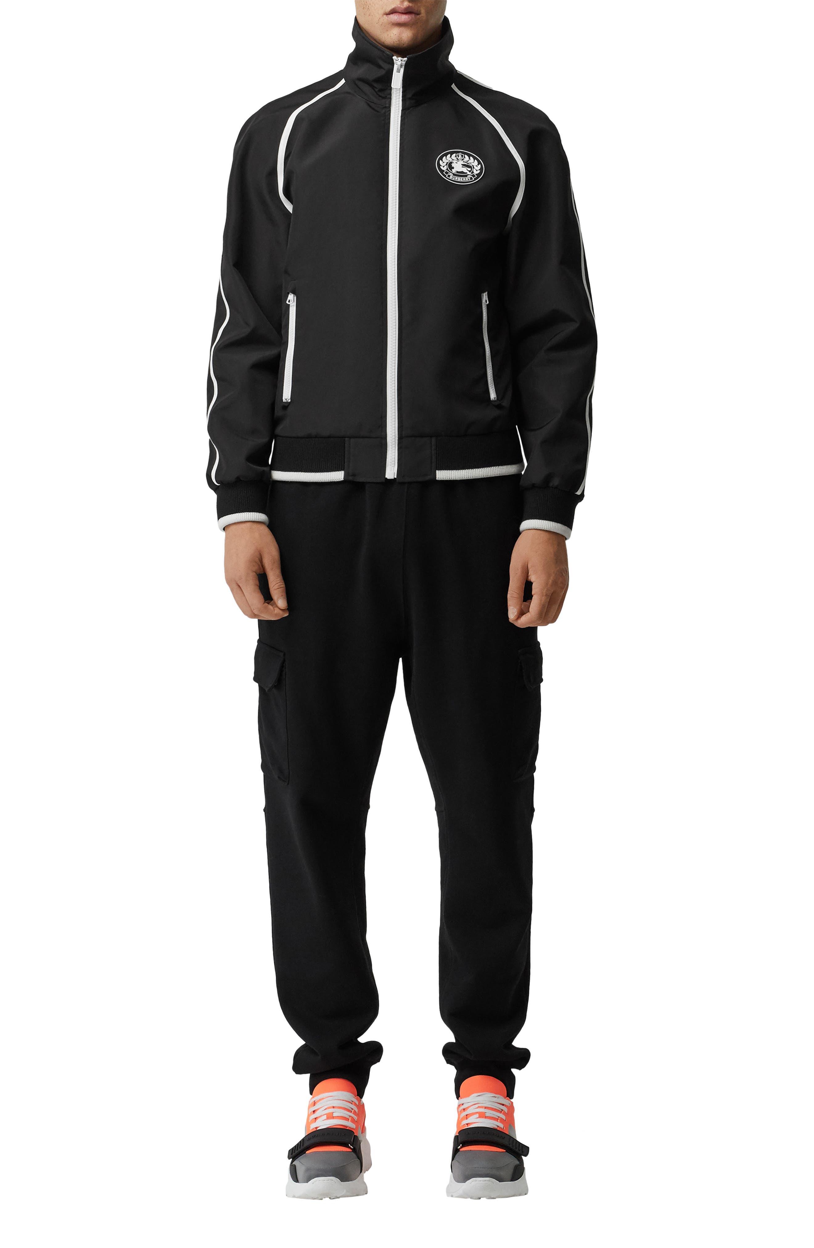 BURBERRY, Northfield Nylon Track Jacket, Alternate thumbnail 5, color, BLACK