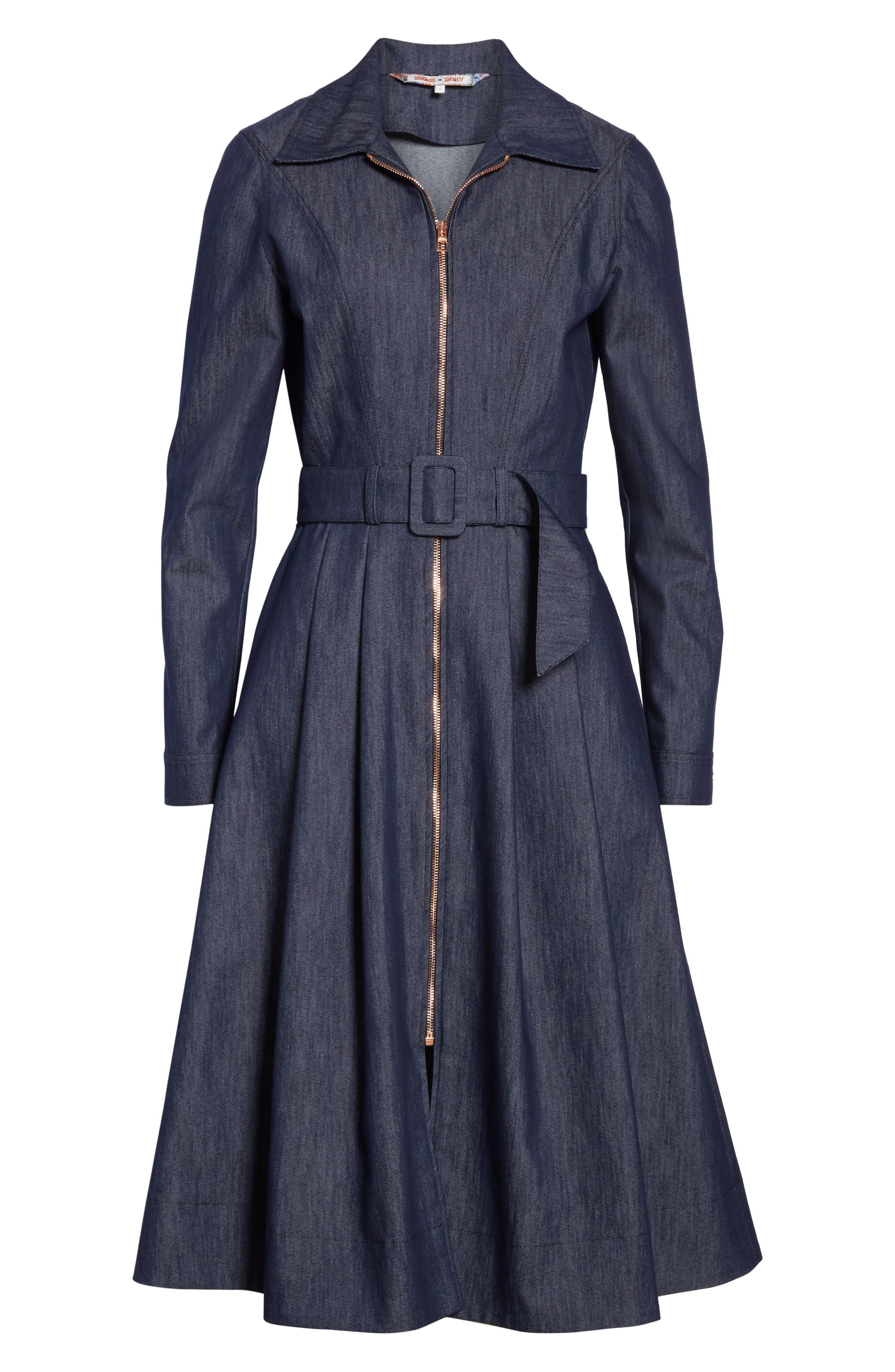 TOMMY X ZENDAYA, Belted Denim Dress, Alternate thumbnail 6, color, DENIM BLUE
