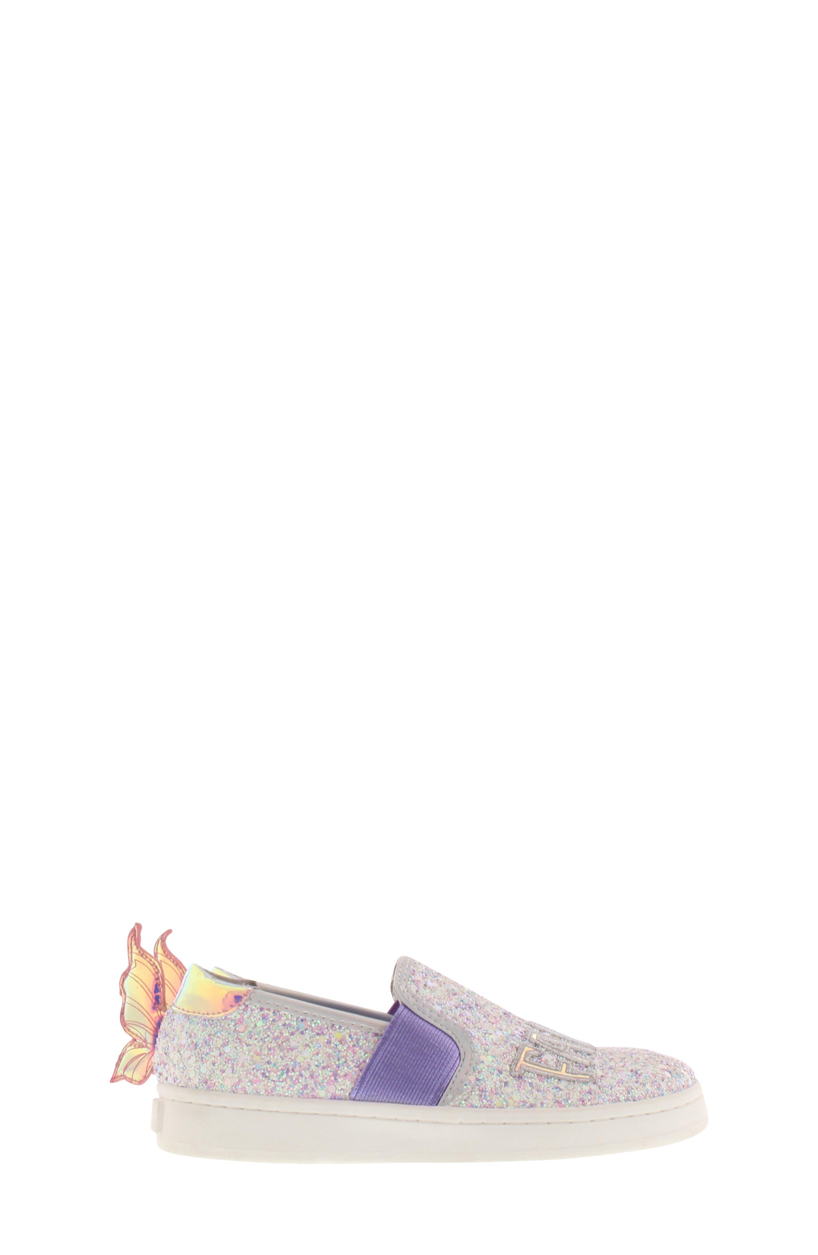 SAM EDELMAN, Blake Lina Fairy Glitter Slip-On Sneaker, Alternate thumbnail 3, color, PINK/ PURPLE