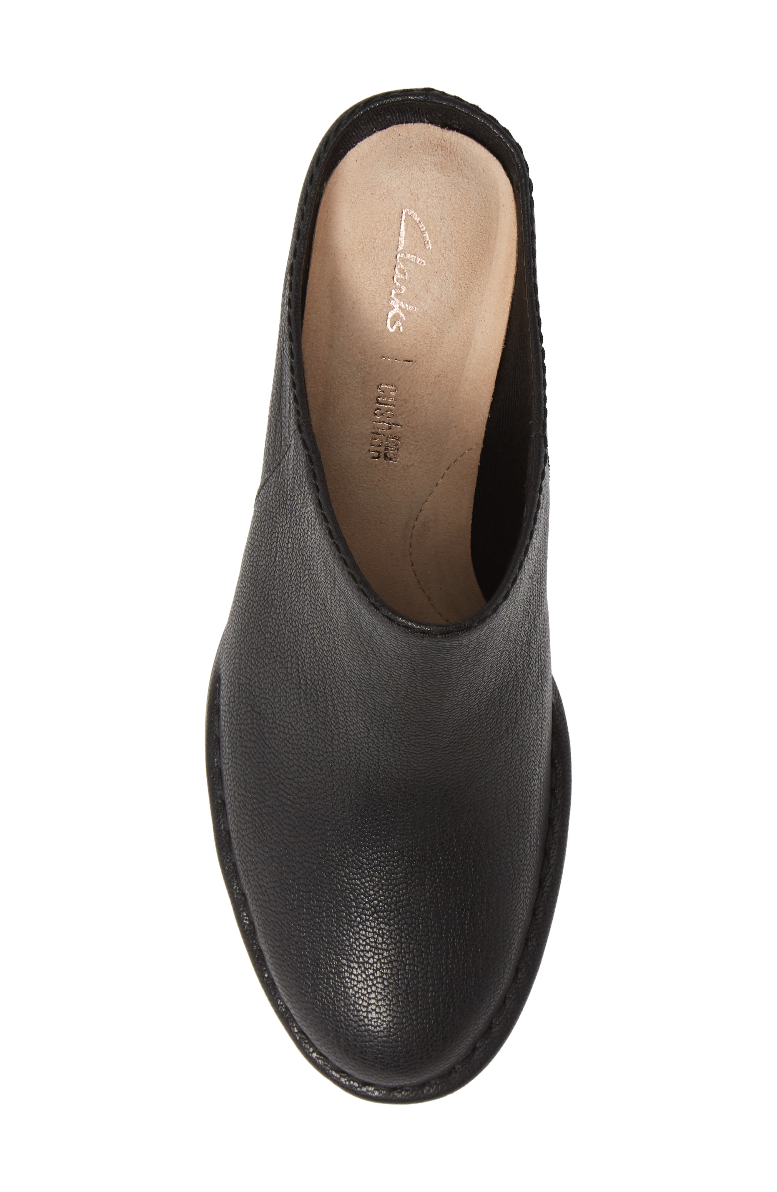 CLARKS<SUP>®</SUP>, Spiced Isla Mule, Alternate thumbnail 5, color, BLACK LEATHER