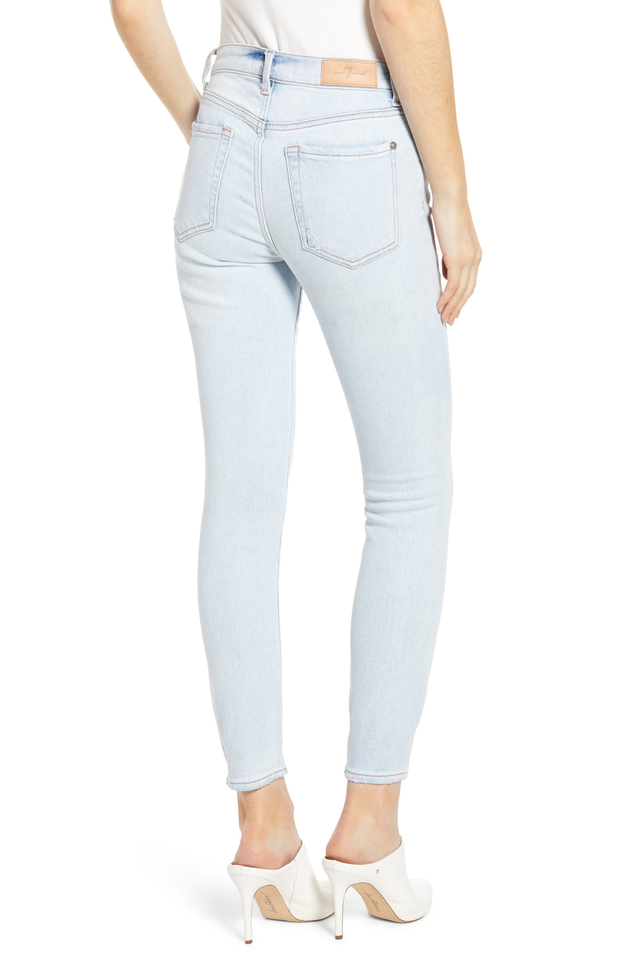 7 FOR ALL MANKIND<SUP>®</SUP>, Luxe Vintage High Waist Ankle Skinny Jeans, Alternate thumbnail 2, color, LUXE VINTAGE CLOUD
