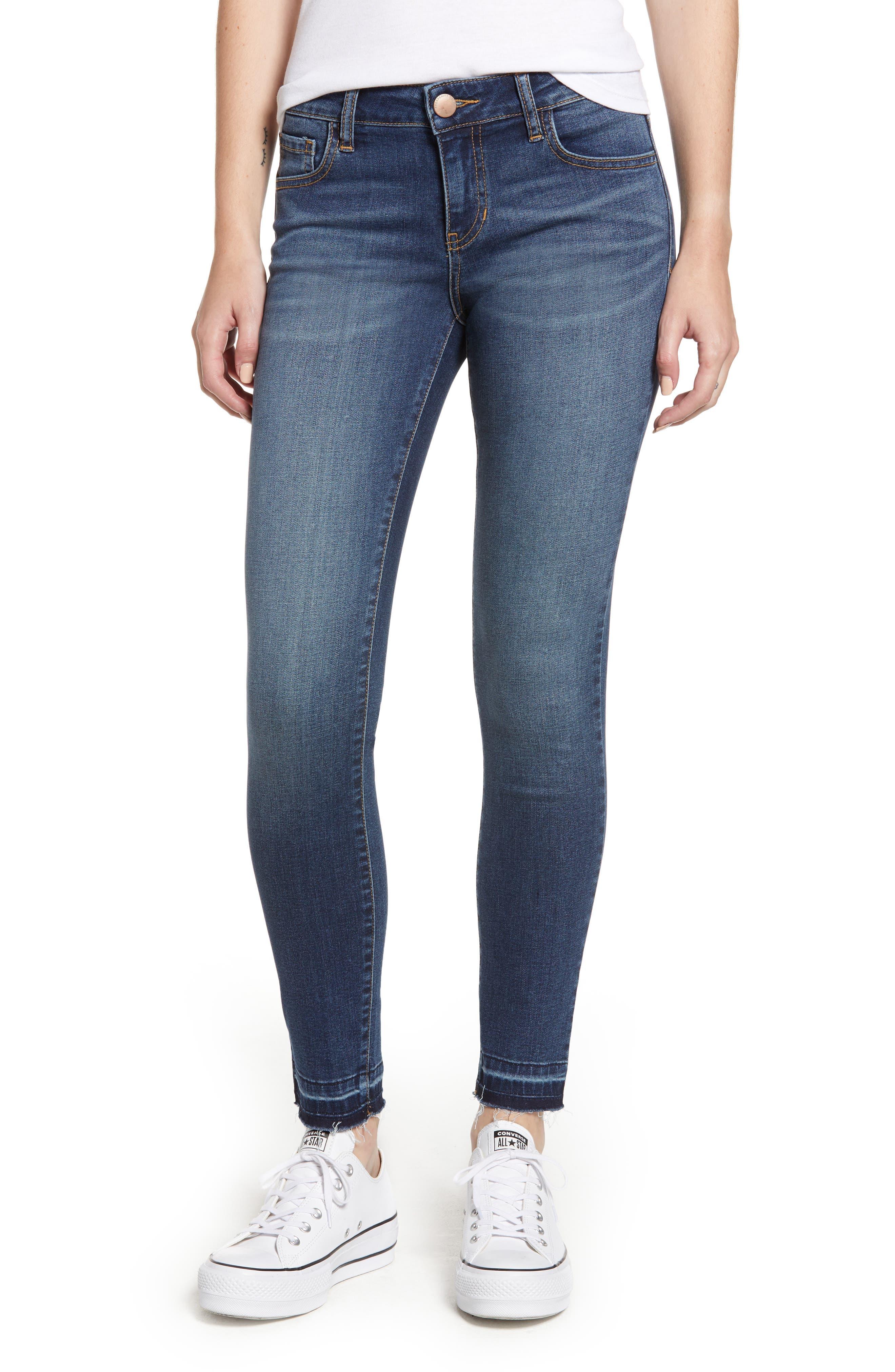 PROSPERITY DENIM Released Hem Skinny Jeans, Main, color, CLAUDIA MED WASH