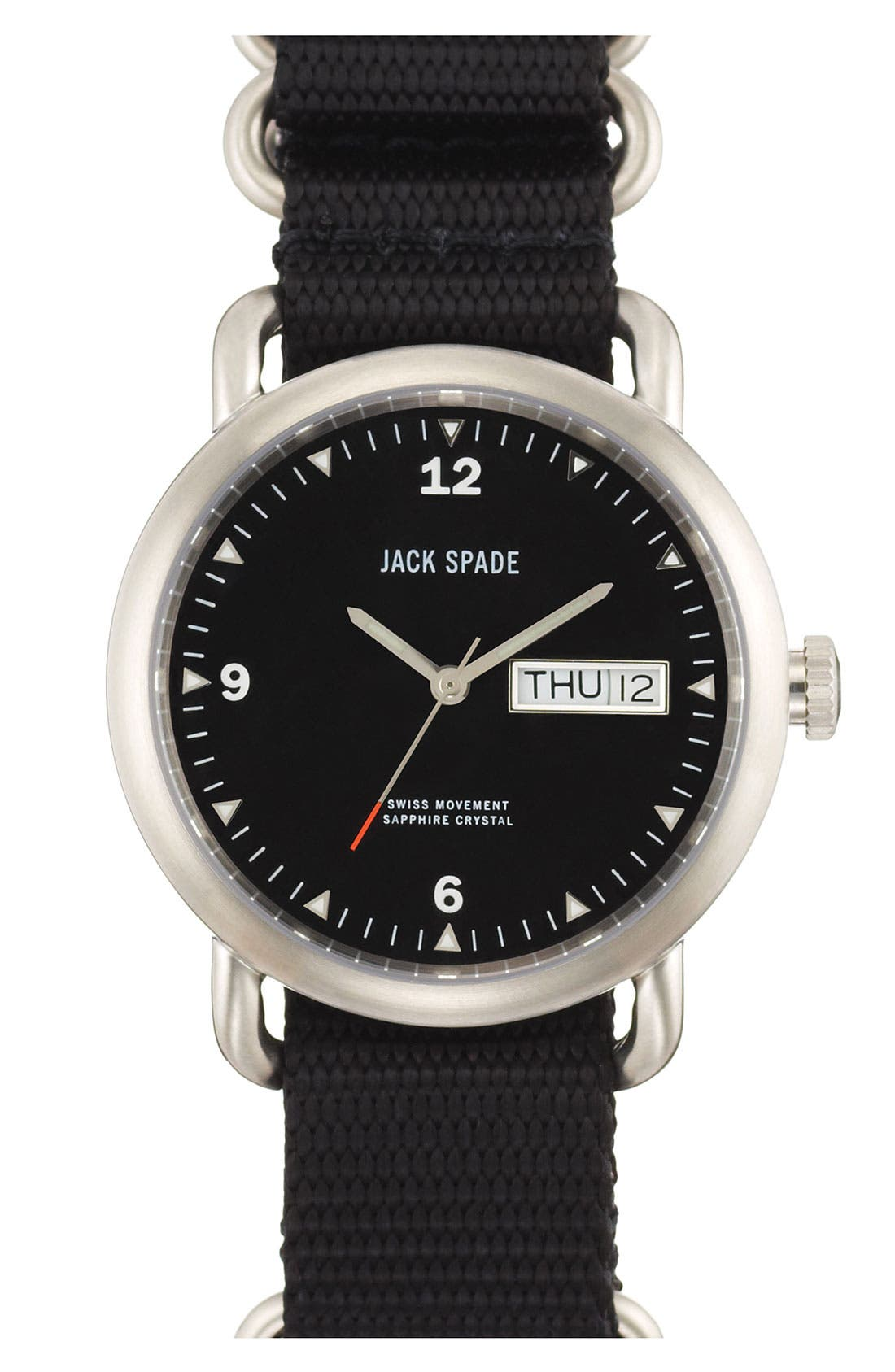 JACK SPADE 'Classic Military - Conway' Round Watch, 38mm, Main, color, 001