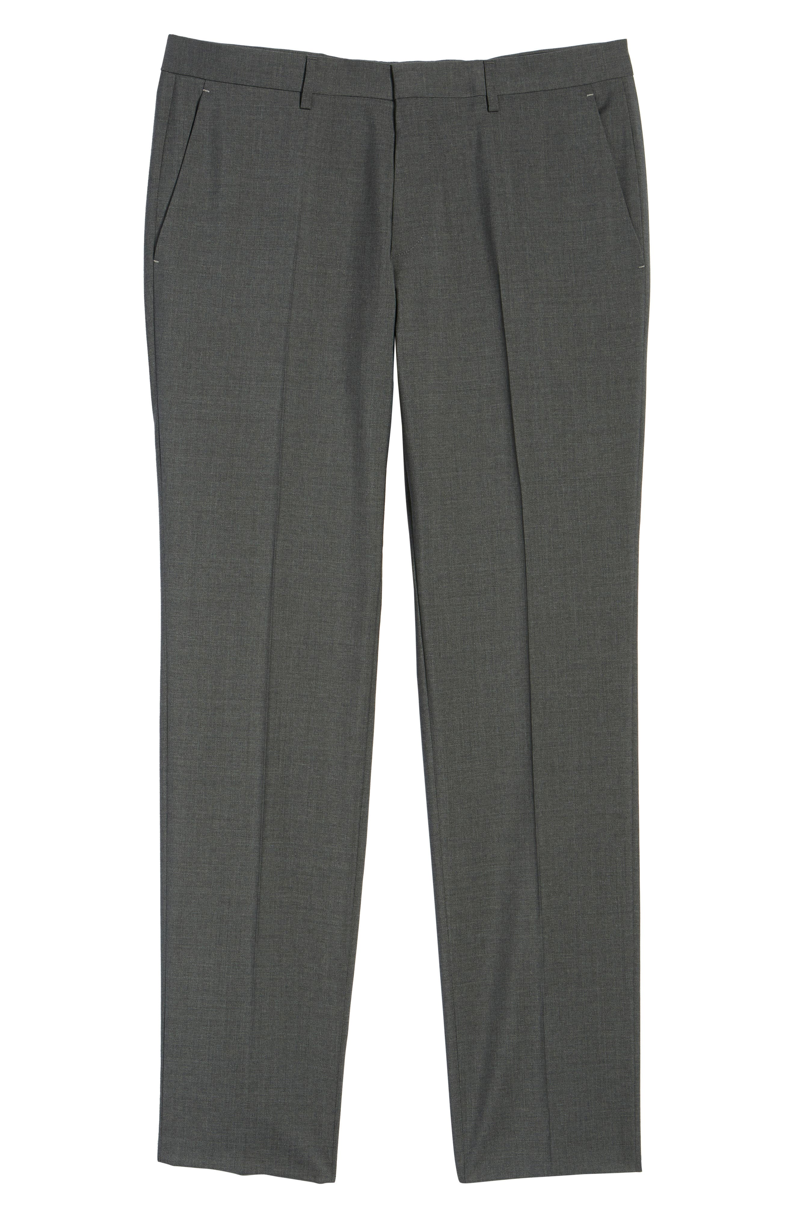 BOSS, Genesis Flat Front Solid Wool Trousers, Alternate thumbnail 6, color, CHARCOAL