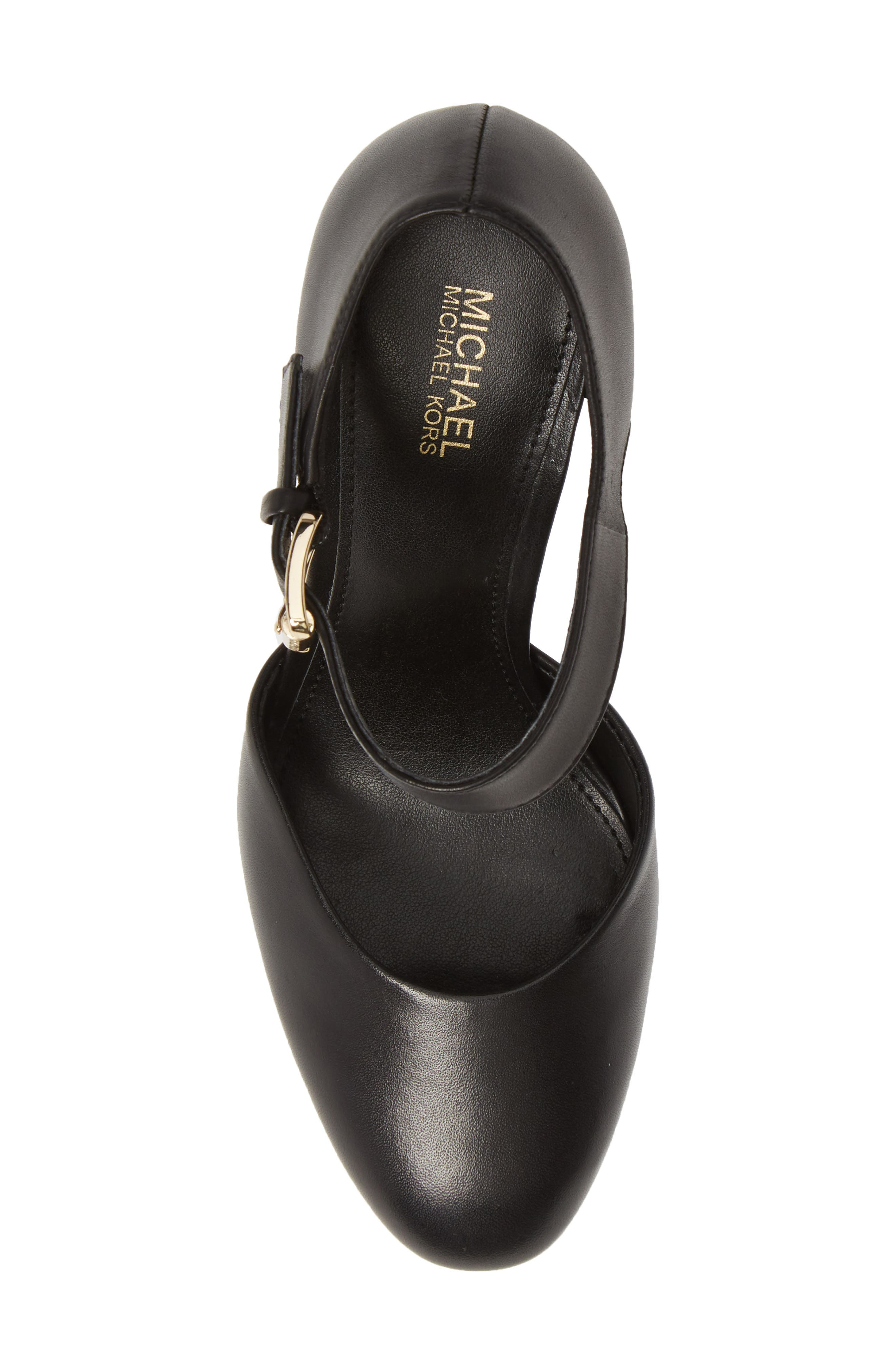 MICHAEL MICHAEL KORS, Platform Pump, Alternate thumbnail 5, color, BLACK VACHETTA LEATHER
