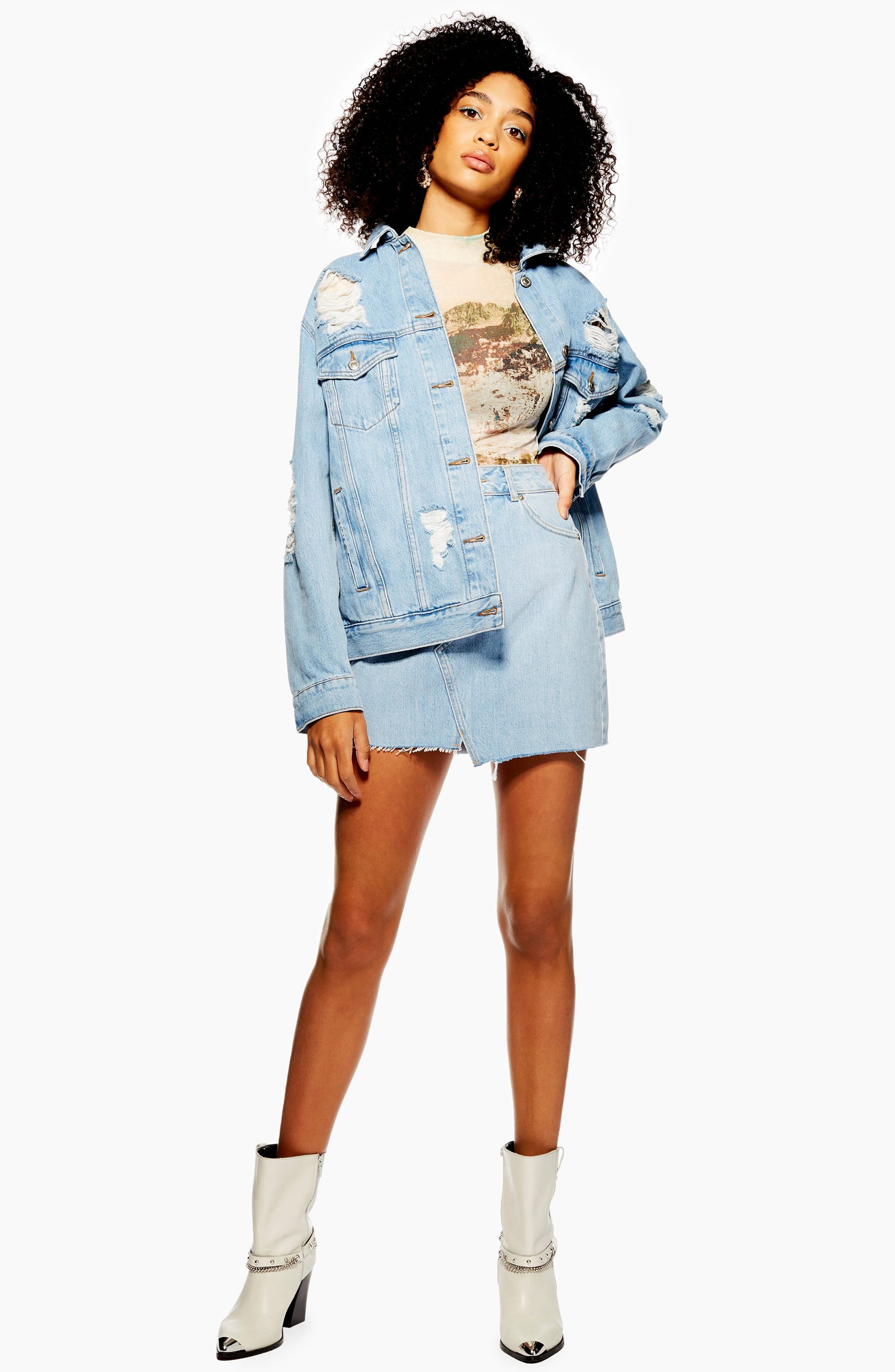 TOPSHOP, Ripped Denim Jacket, Alternate thumbnail 5, color, MID DENIM