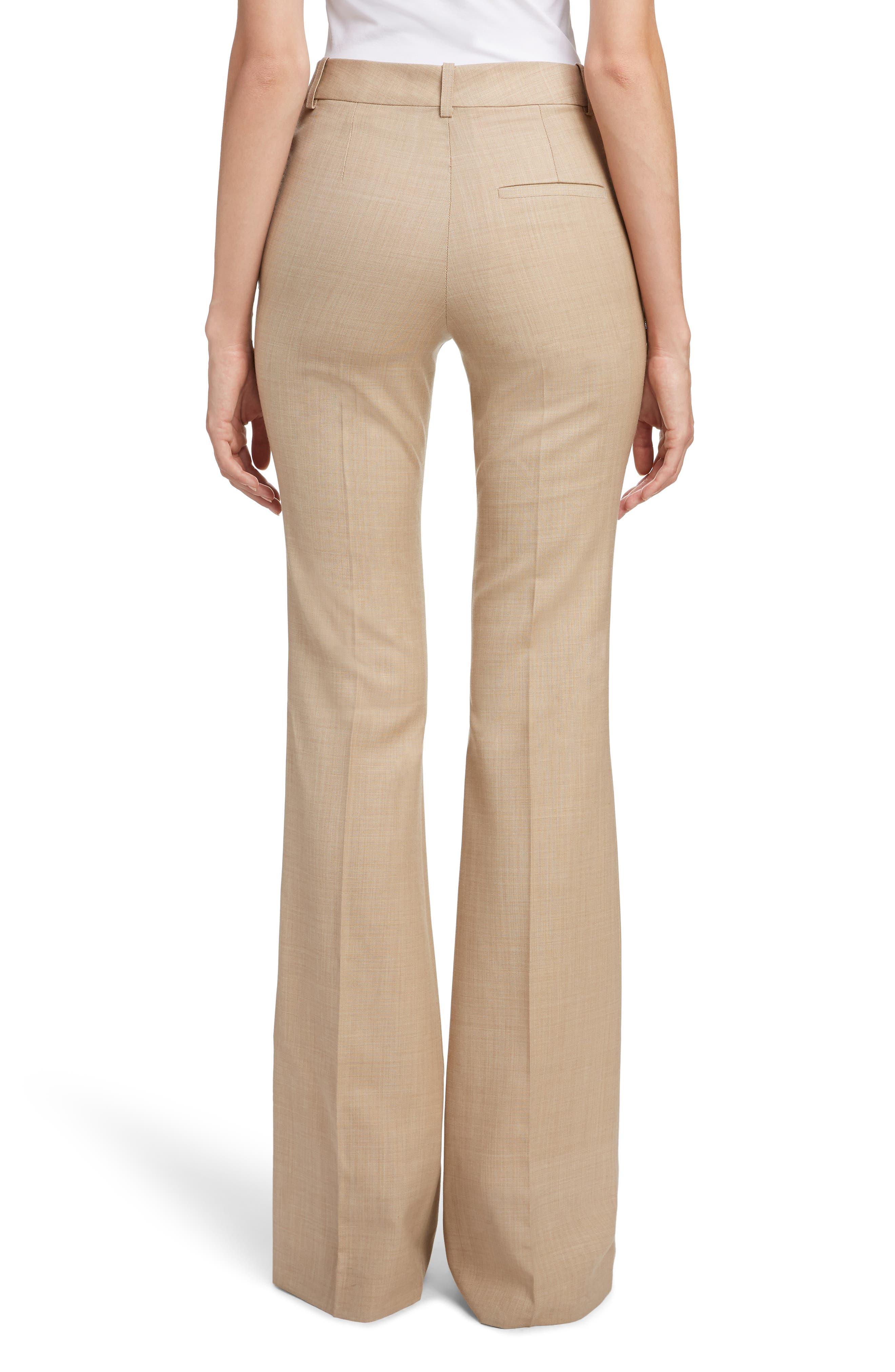 VICTORIA BECKHAM, High Waist Flare Wool Pants, Alternate thumbnail 2, color, LIGHT BEIGE-WHITE