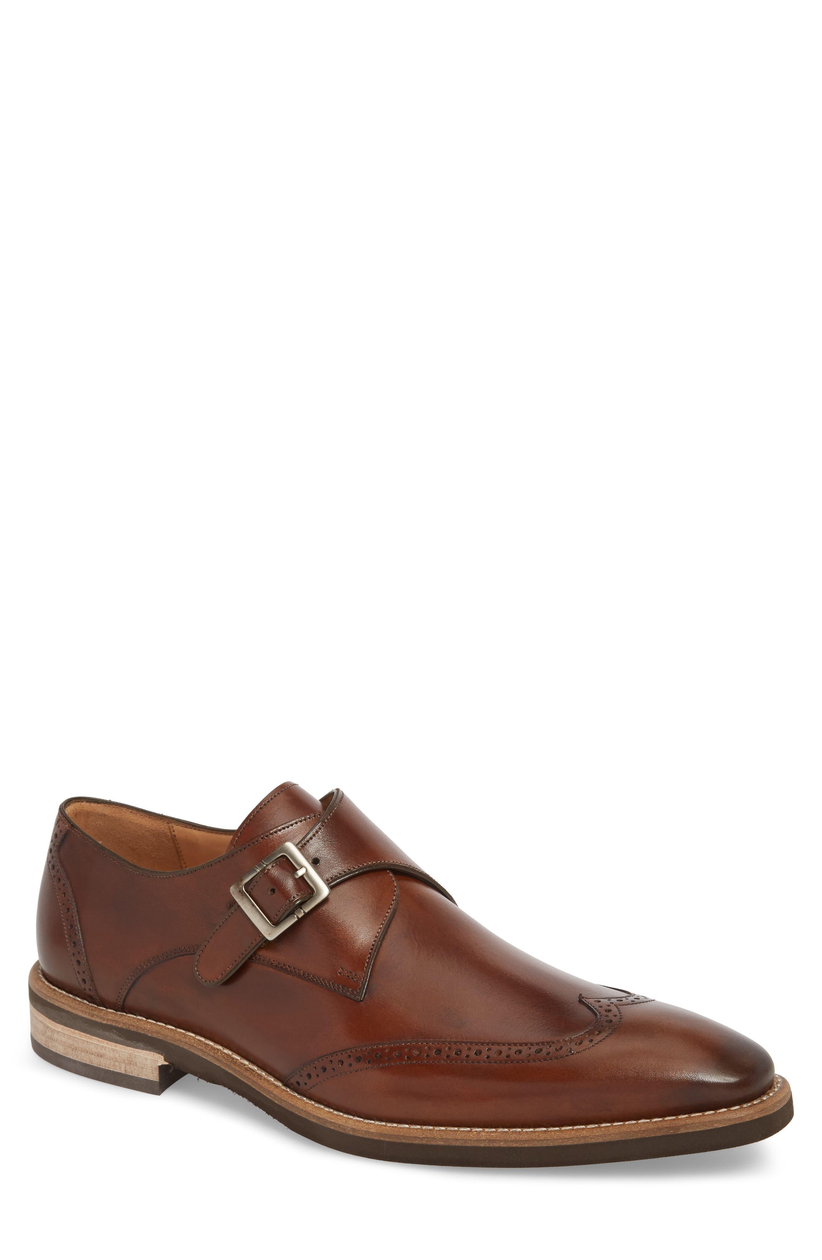 MEZLAN Feresta Wingtip Monk Shoe, Main, color, COGNAC