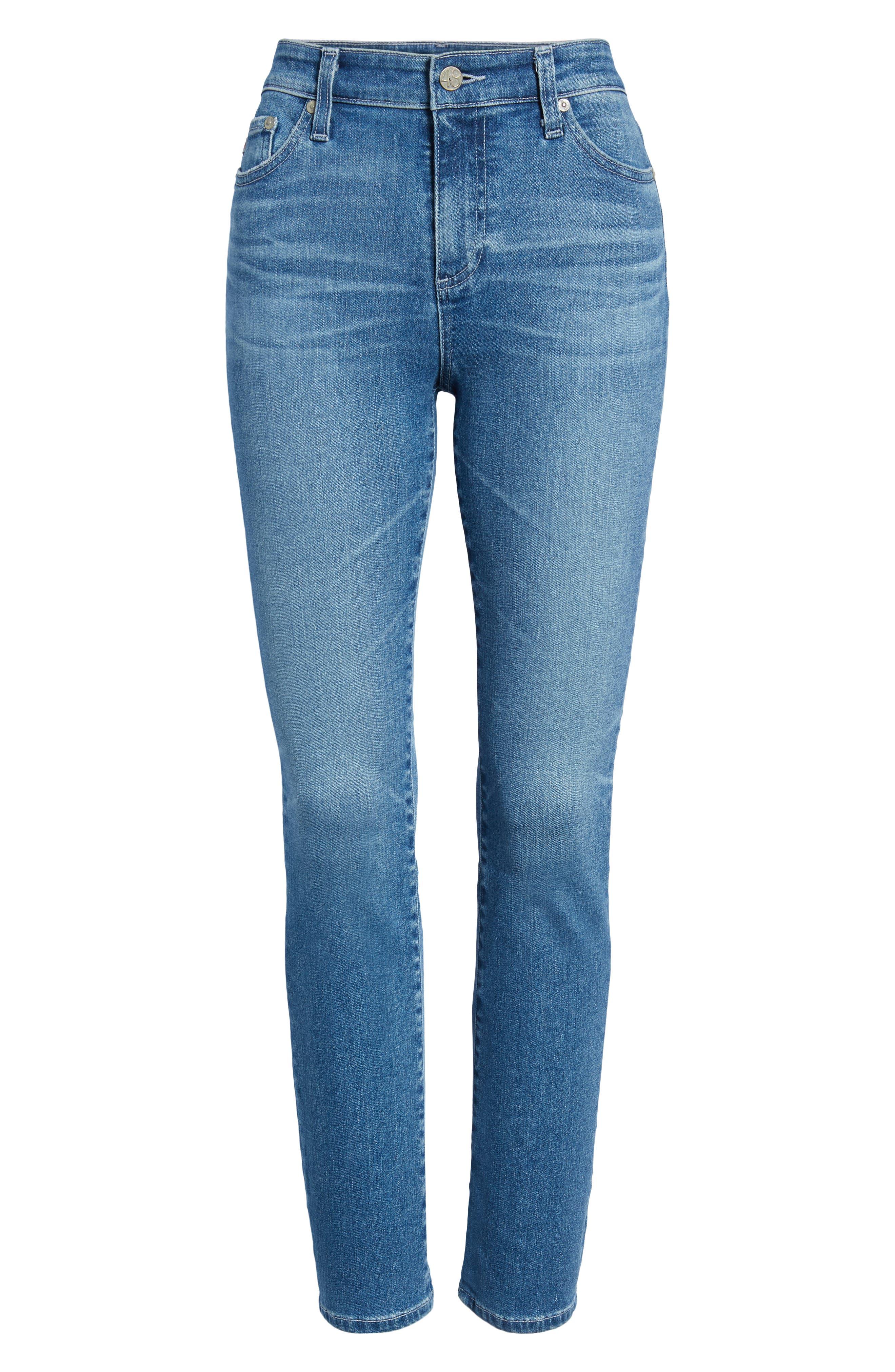 AG, Mari High Waist Slim Straight Leg Jeans, Alternate thumbnail 7, color, 16 YEARS SERENITY