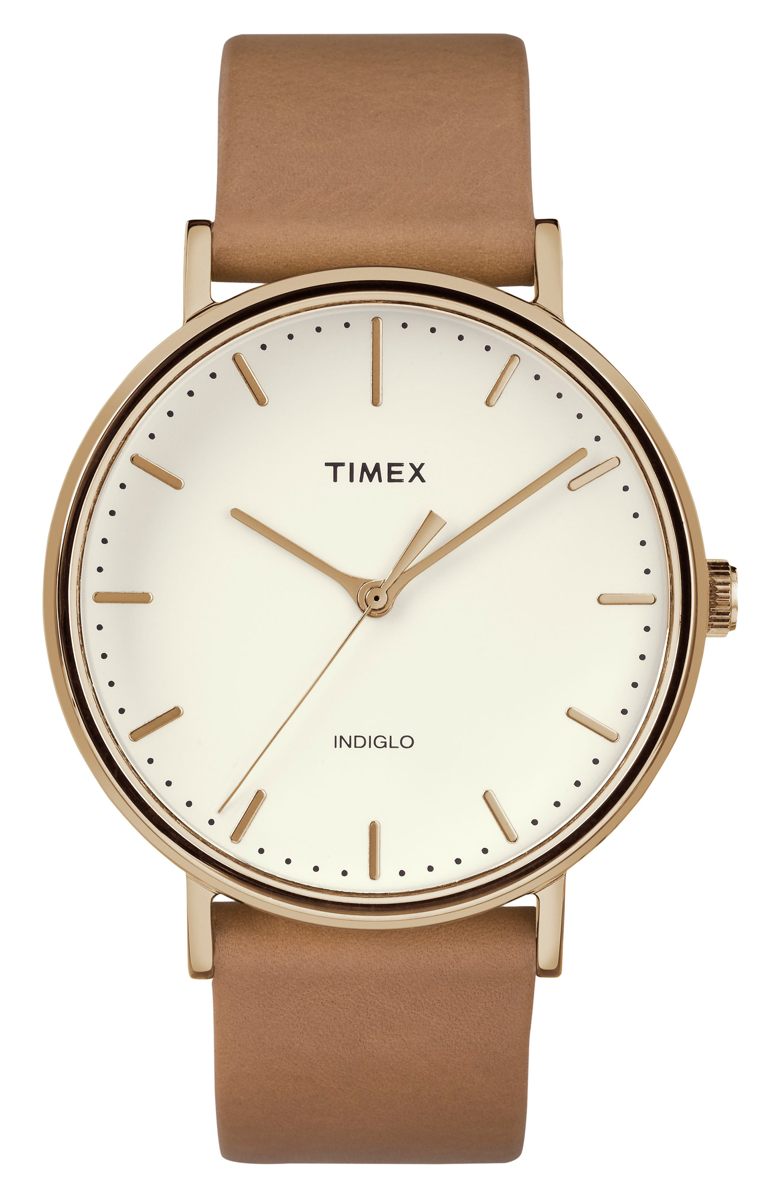 TIMEX<SUP>®</SUP>, Fairfield Leather Strap Watch, 41mm, Main thumbnail 1, color, BROWN/ CREAM/ ROSE GOLD