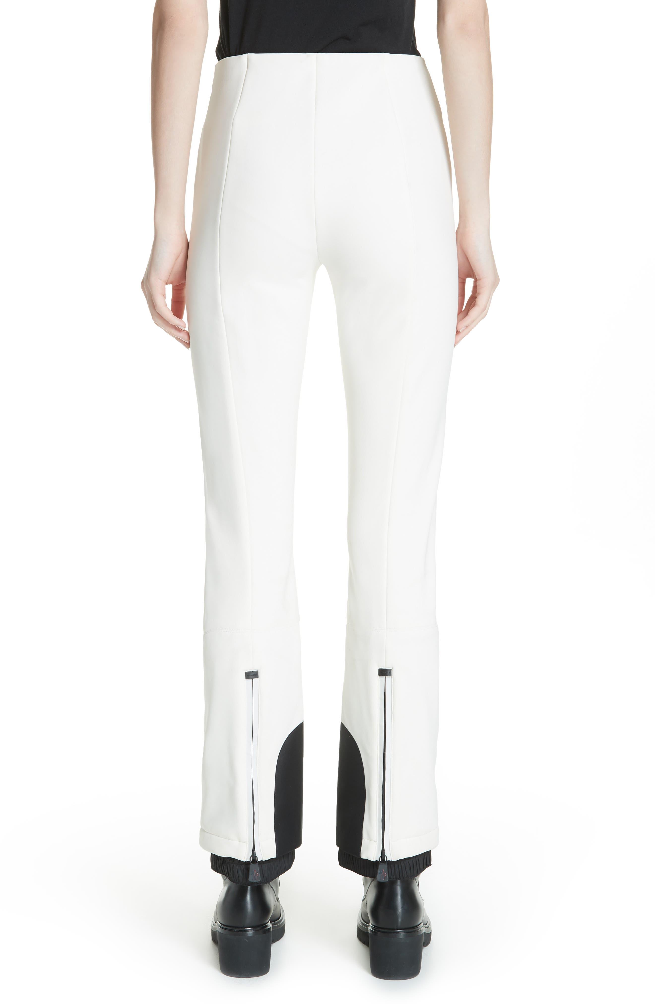 MONCLER, Skinny Stretch Ski Pants, Alternate thumbnail 2, color, WHITE