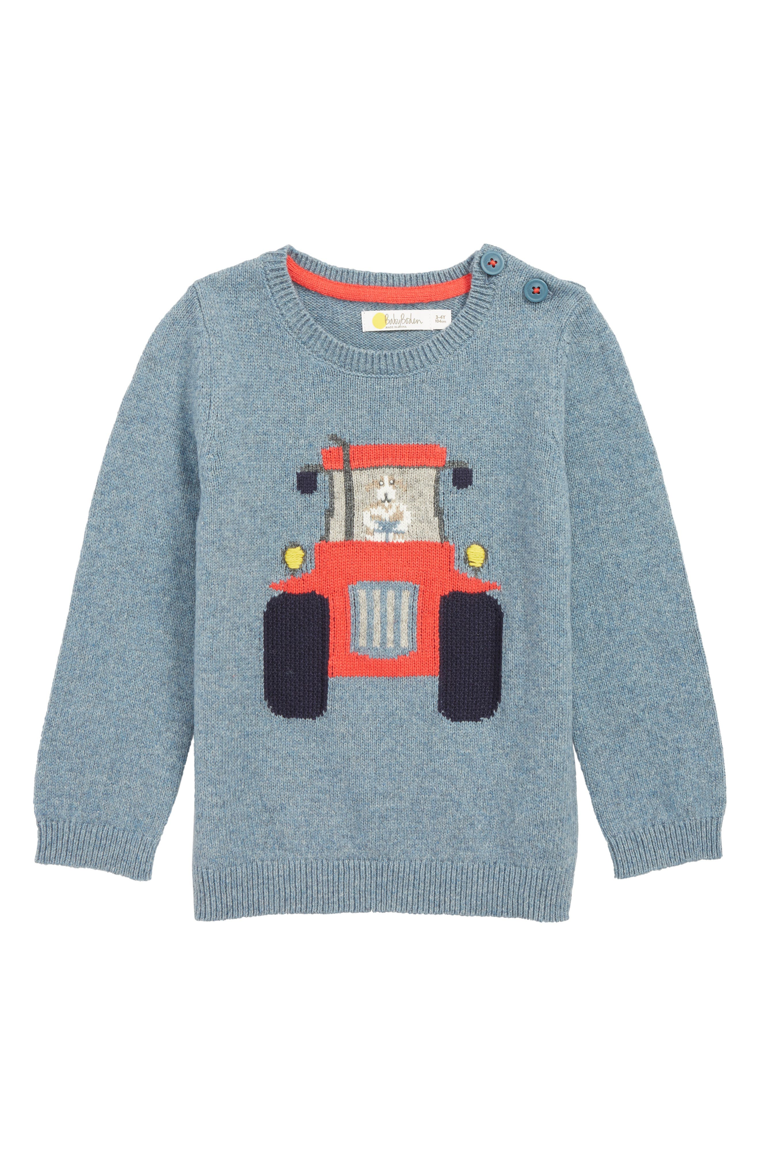 Toddler Boys Mini Boden Fun Sweater Size 34Y  Blue