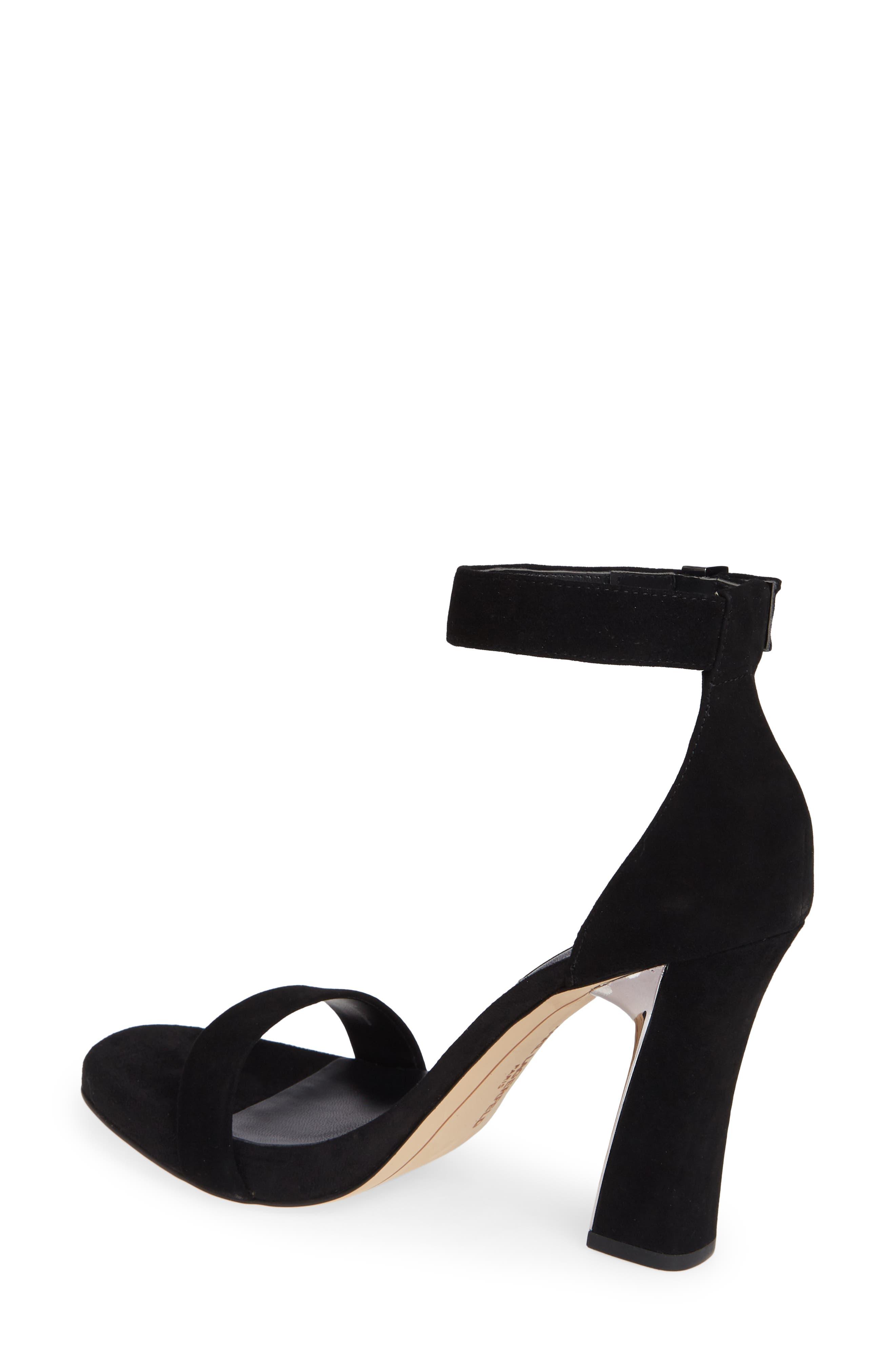 KARL LAGERFELD PARIS, Carah Ankle Strap Sandal, Alternate thumbnail 2, color, BLACK SUEDE