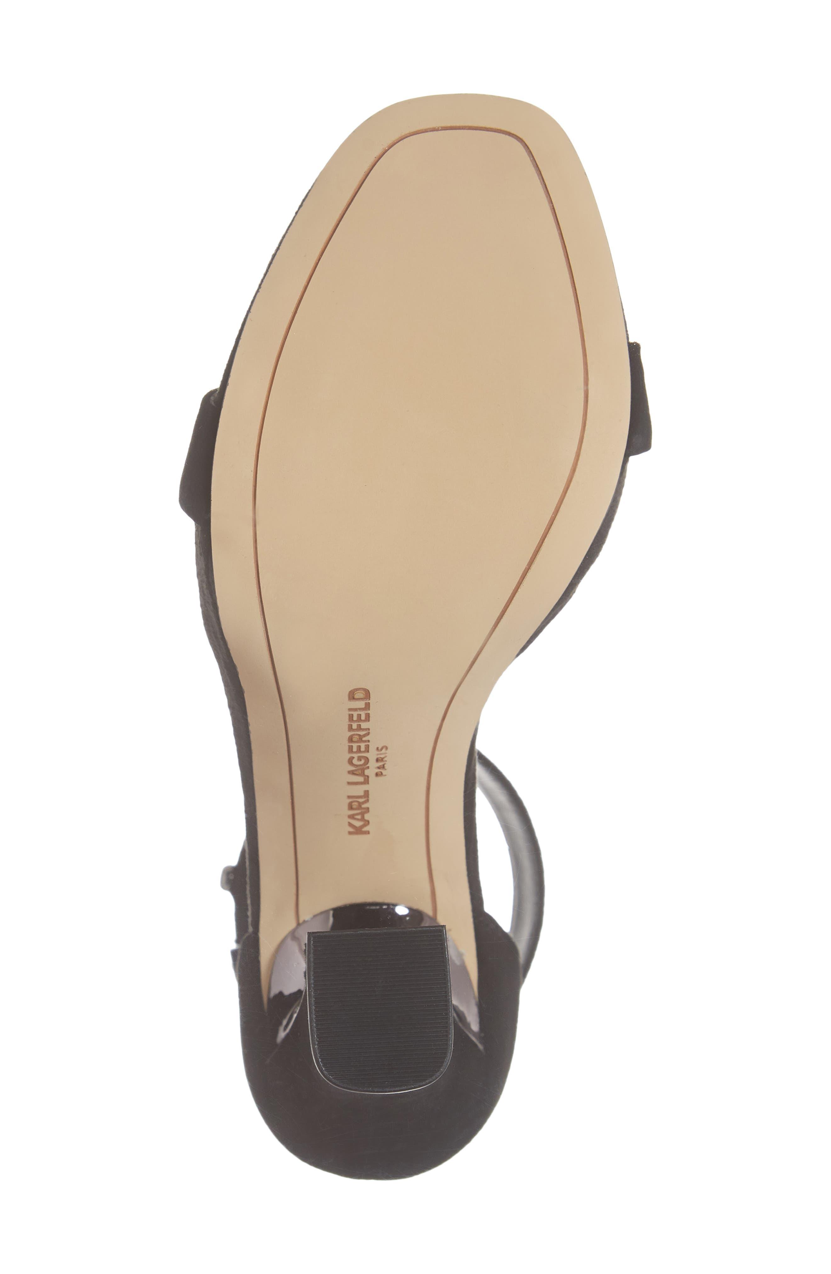 KARL LAGERFELD PARIS, Carah Ankle Strap Sandal, Alternate thumbnail 6, color, BLACK SUEDE