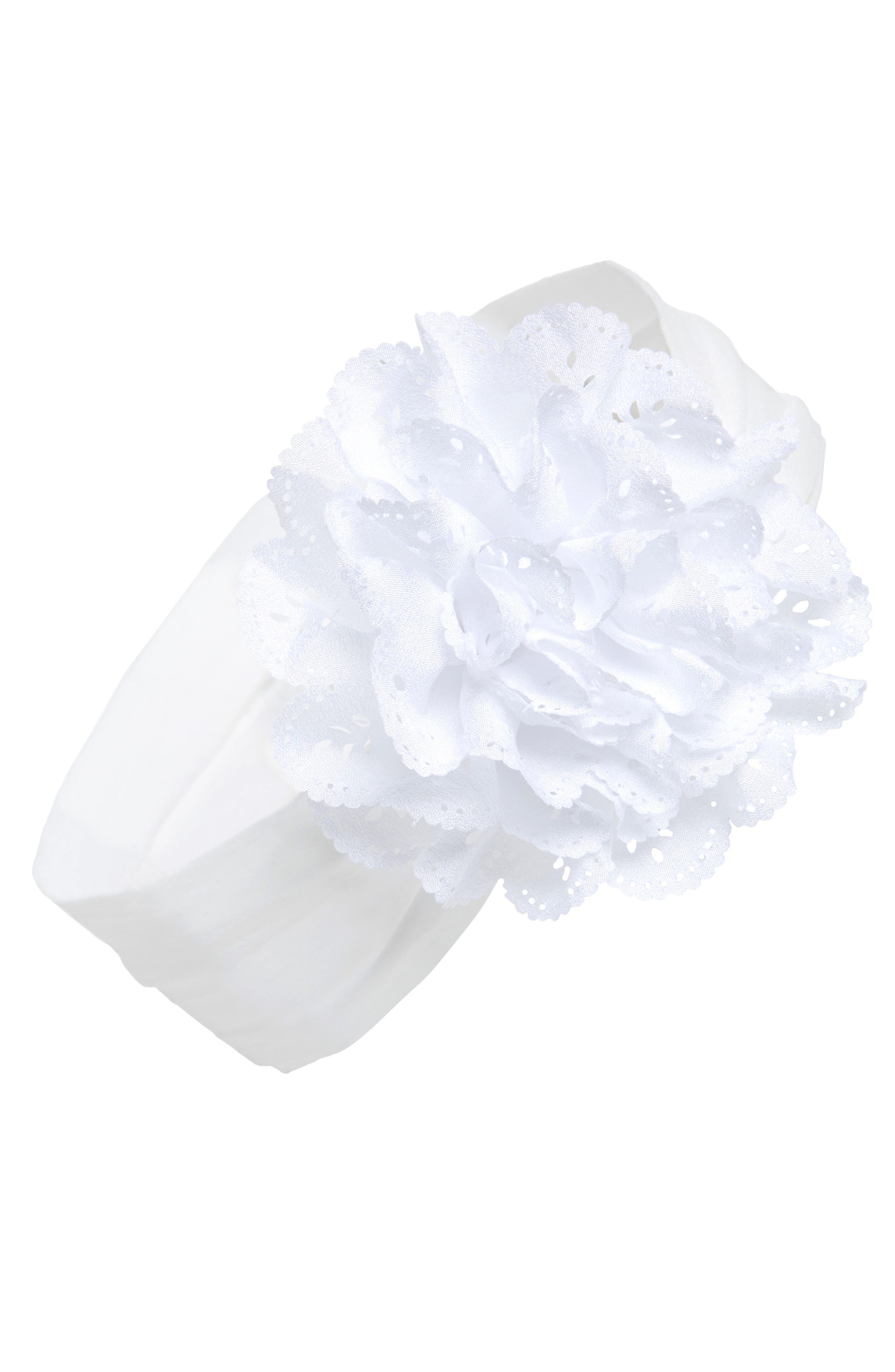 BABY BLING Eyelet Flower Head Wrap, Main, color, 100