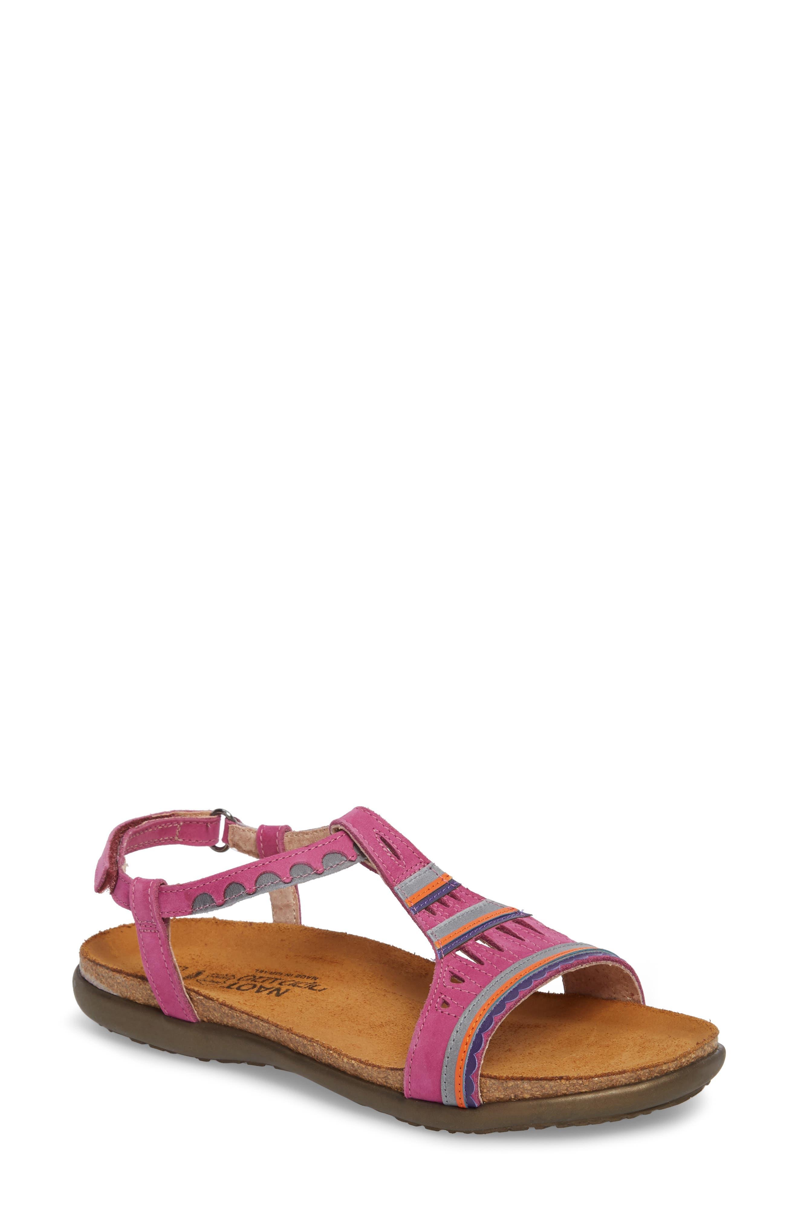 NAOT Odelia Perforated T-Strap Sandal, Main, color, PINK PLUM NUBUCK