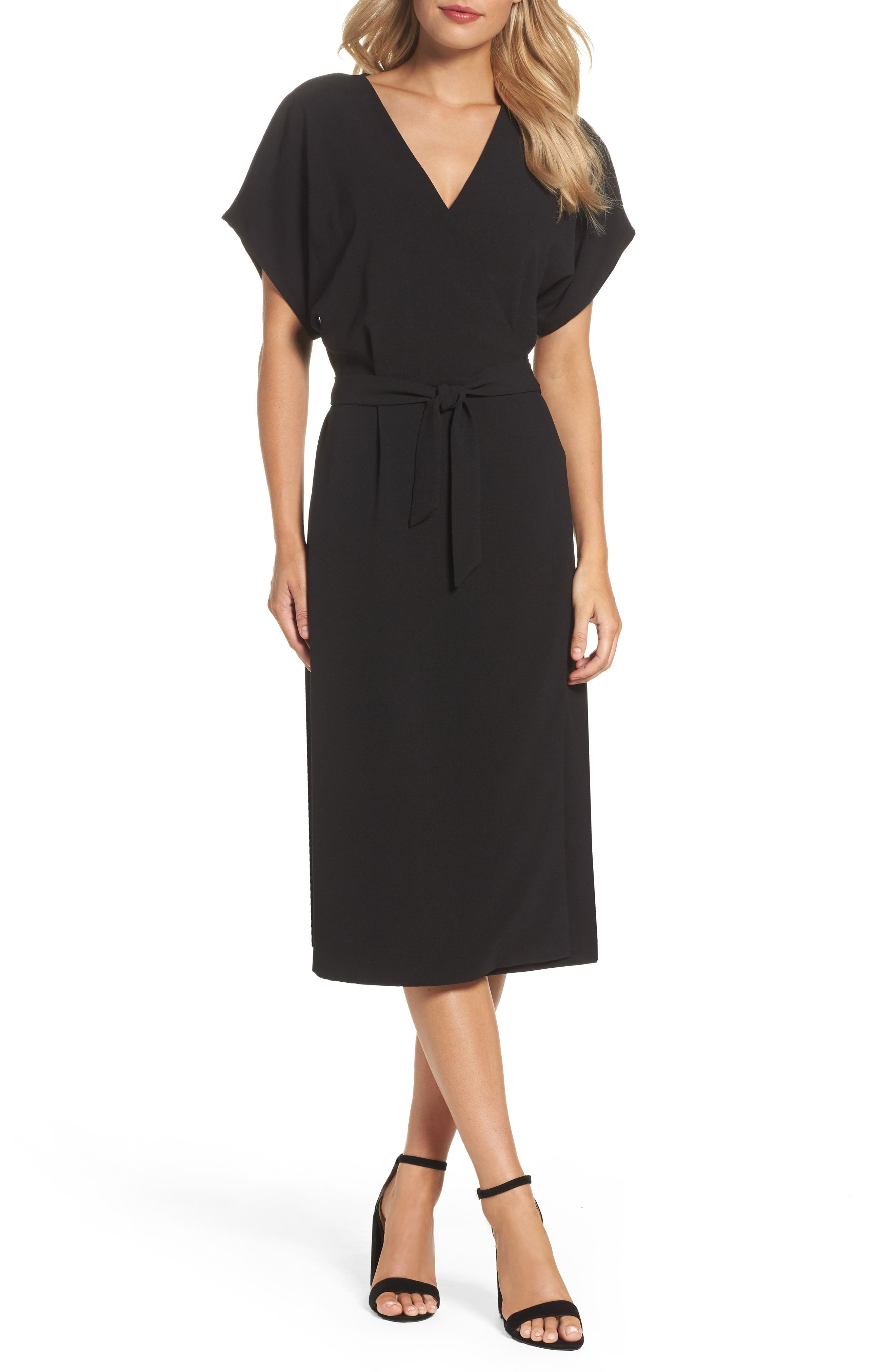 FELICITY & COCO Rita Wrap Dress, Main, color, BLACK
