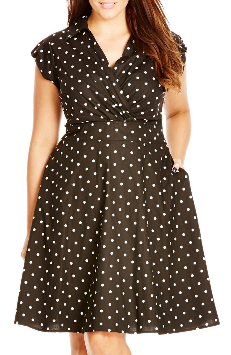 City Chic \'Retro Chic Spot\' Surplice Fit & Flare Dress (Plus Size ...