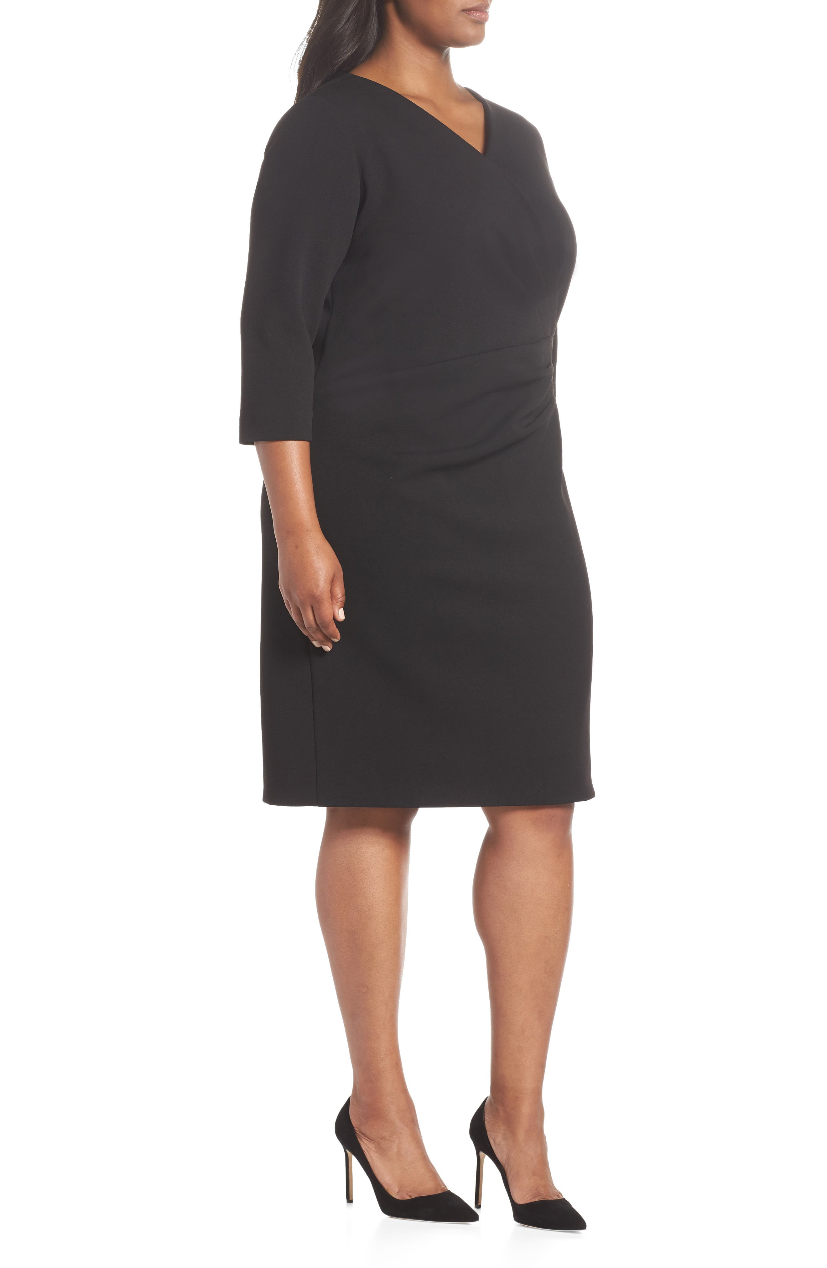 TAHARI, Ruched Surplice Crepe Sheath Dress, Alternate thumbnail 4, color, BLACK