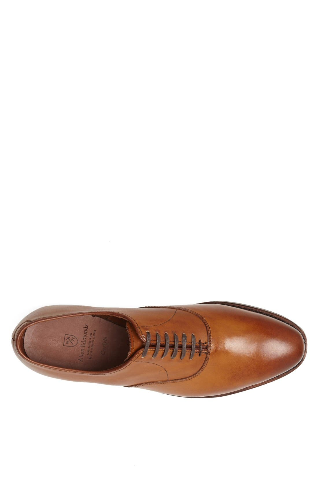 ALLEN EDMONDS, Carlyle Plain Toe Oxford, Alternate thumbnail 3, color, WALNUT LEATHER
