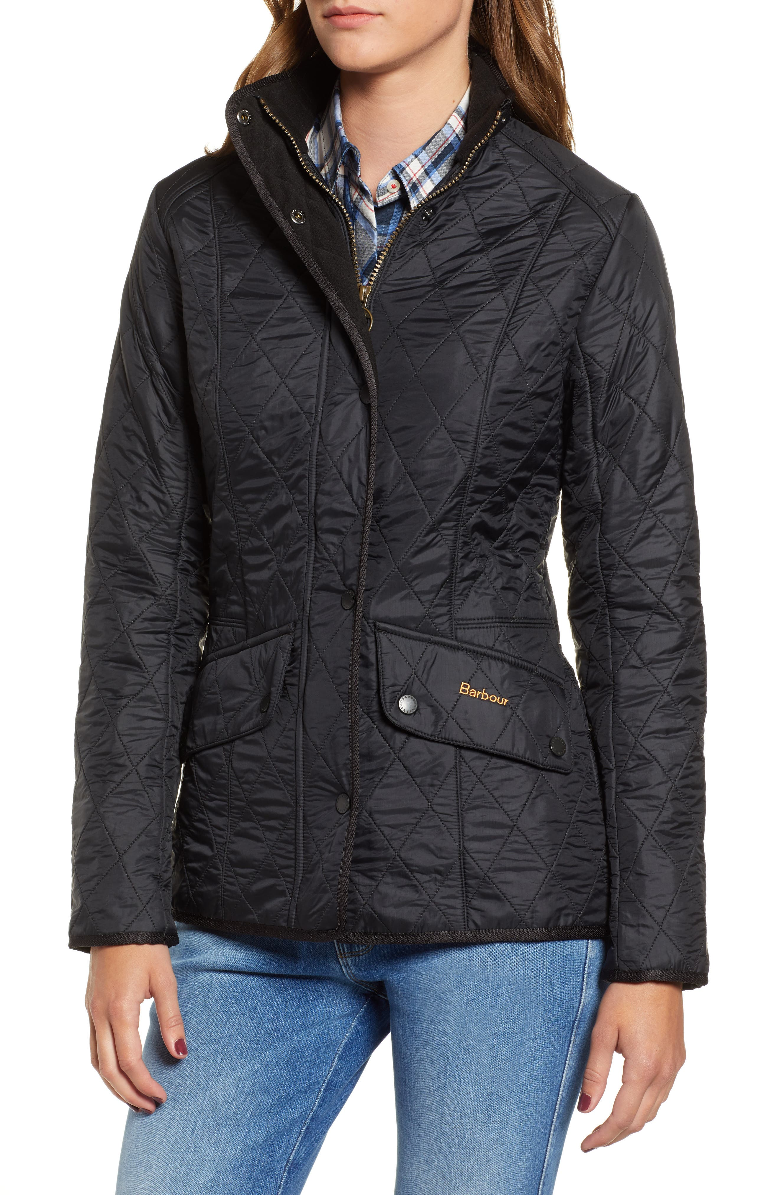 BARBOUR, 'Cavalry' Quilted Jacket, Alternate thumbnail 4, color, 001