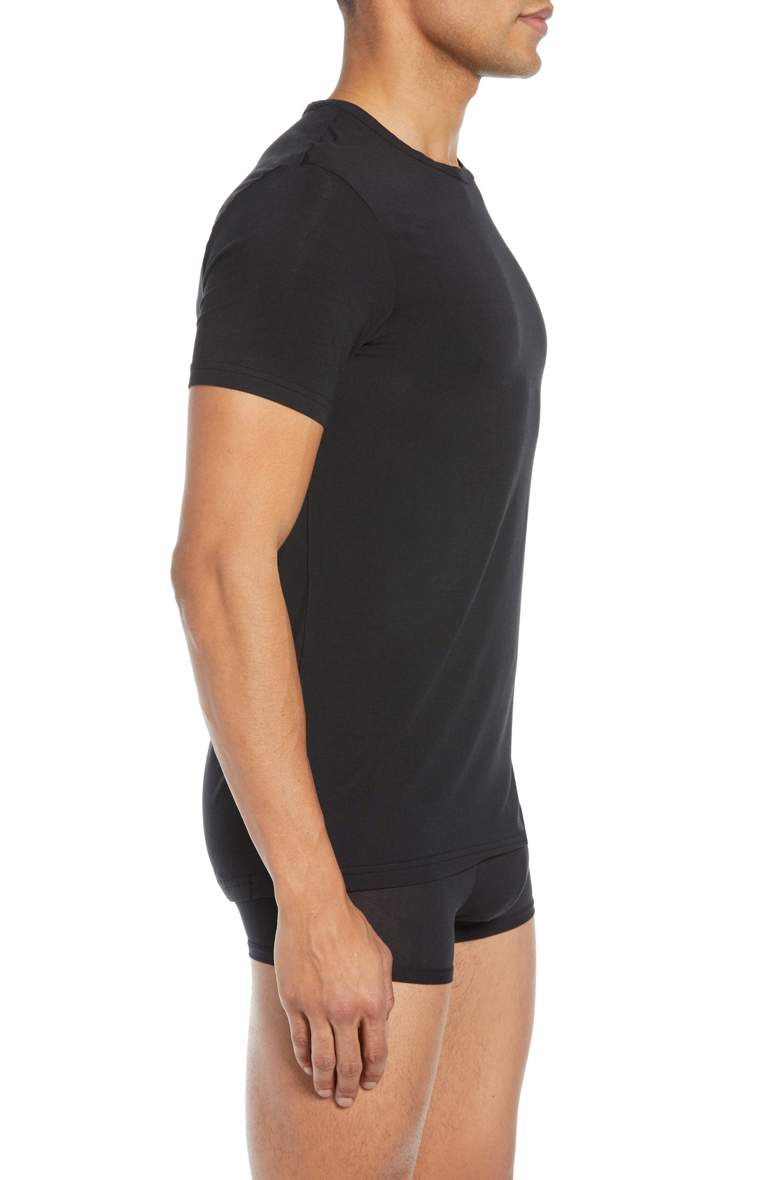 CALVIN KLEIN, Ultrasoft Stretch Modal Blend Crewneck T-Shirt, Alternate thumbnail 3, color, BLACK