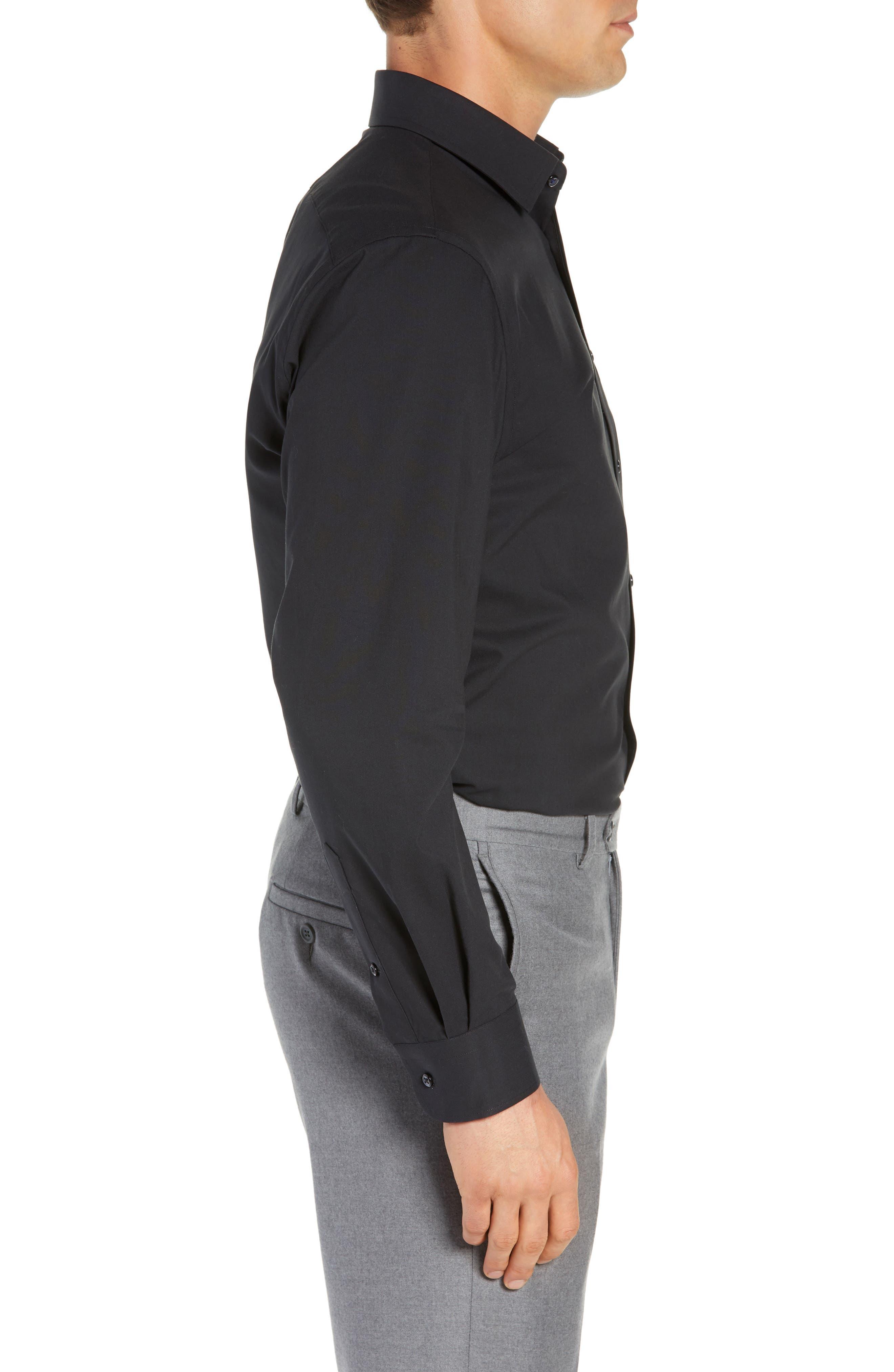 NORDSTROM MEN'S SHOP, Tech-Smart Traditional Fit Stretch Pinpoint Dress Shirt, Alternate thumbnail 4, color, BLACK ROCK