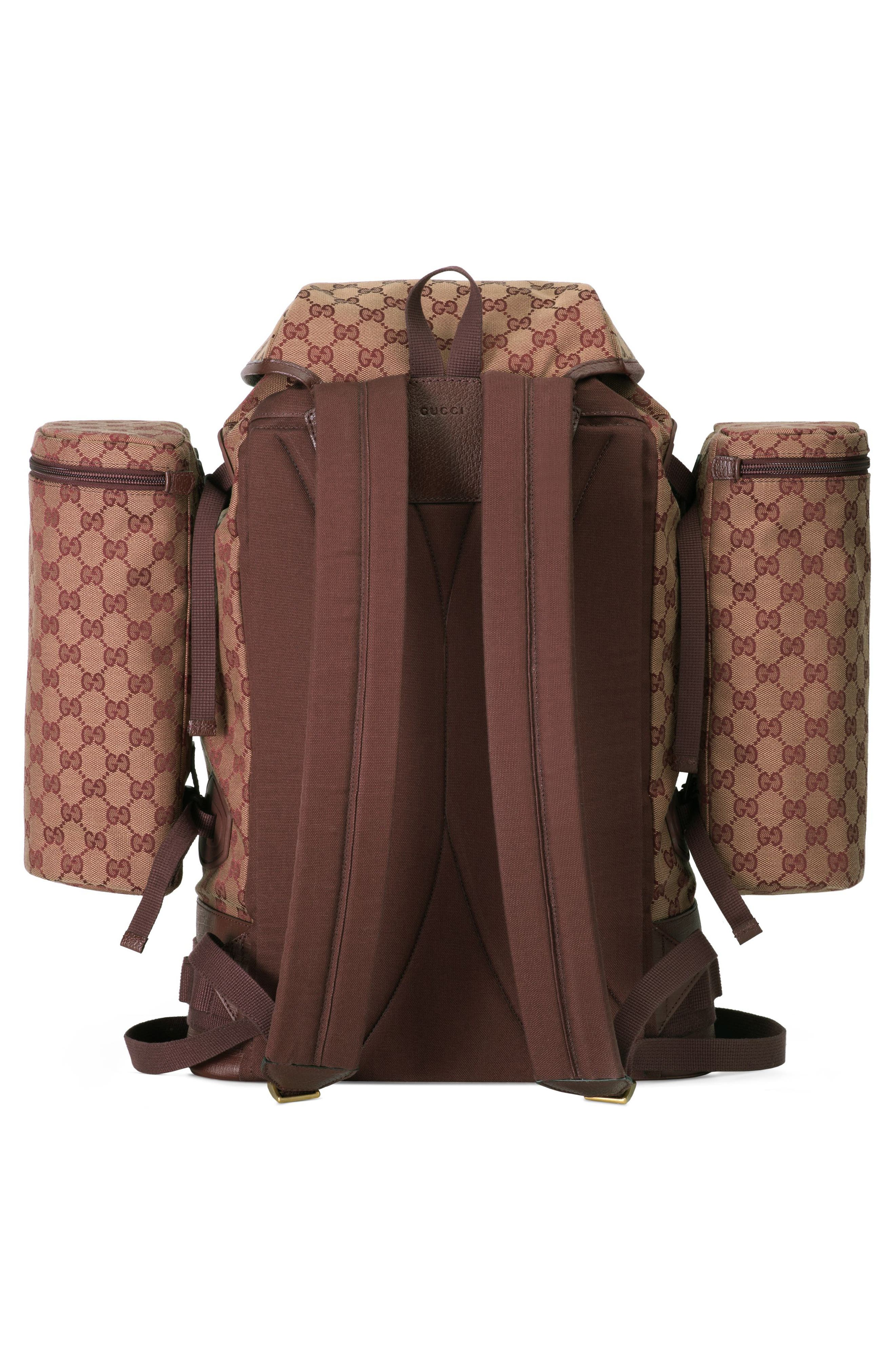 GUCCI, Large GG Canvas Backpack, Alternate thumbnail 2, color, BROWN RED