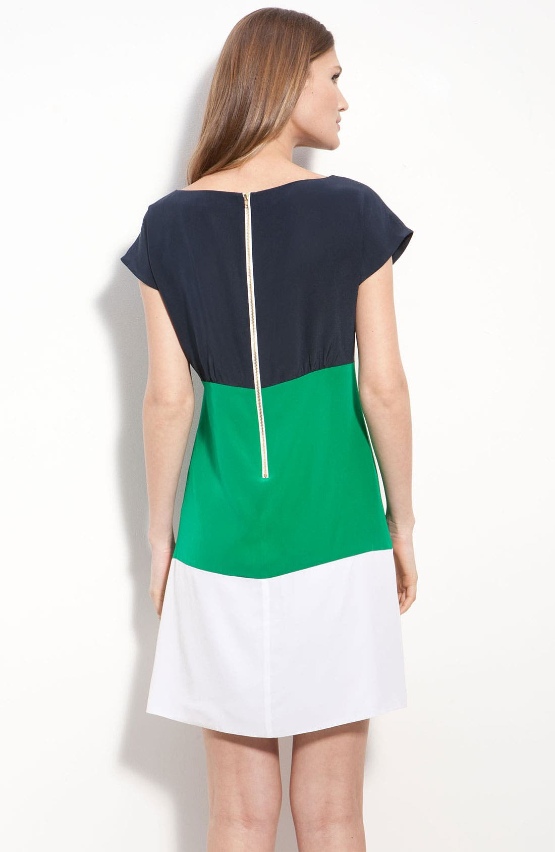 ELIZA J, Colorblock Silk Crêpe de Chine Dress, Alternate thumbnail 2, color, 400