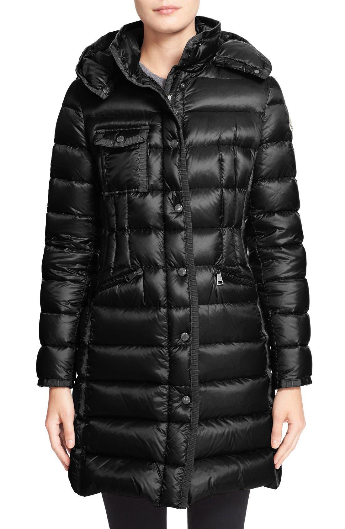 MONCLER 'Hermine' Grosgrain Trim Water Resistant Down Coat, Main, color, BLACK