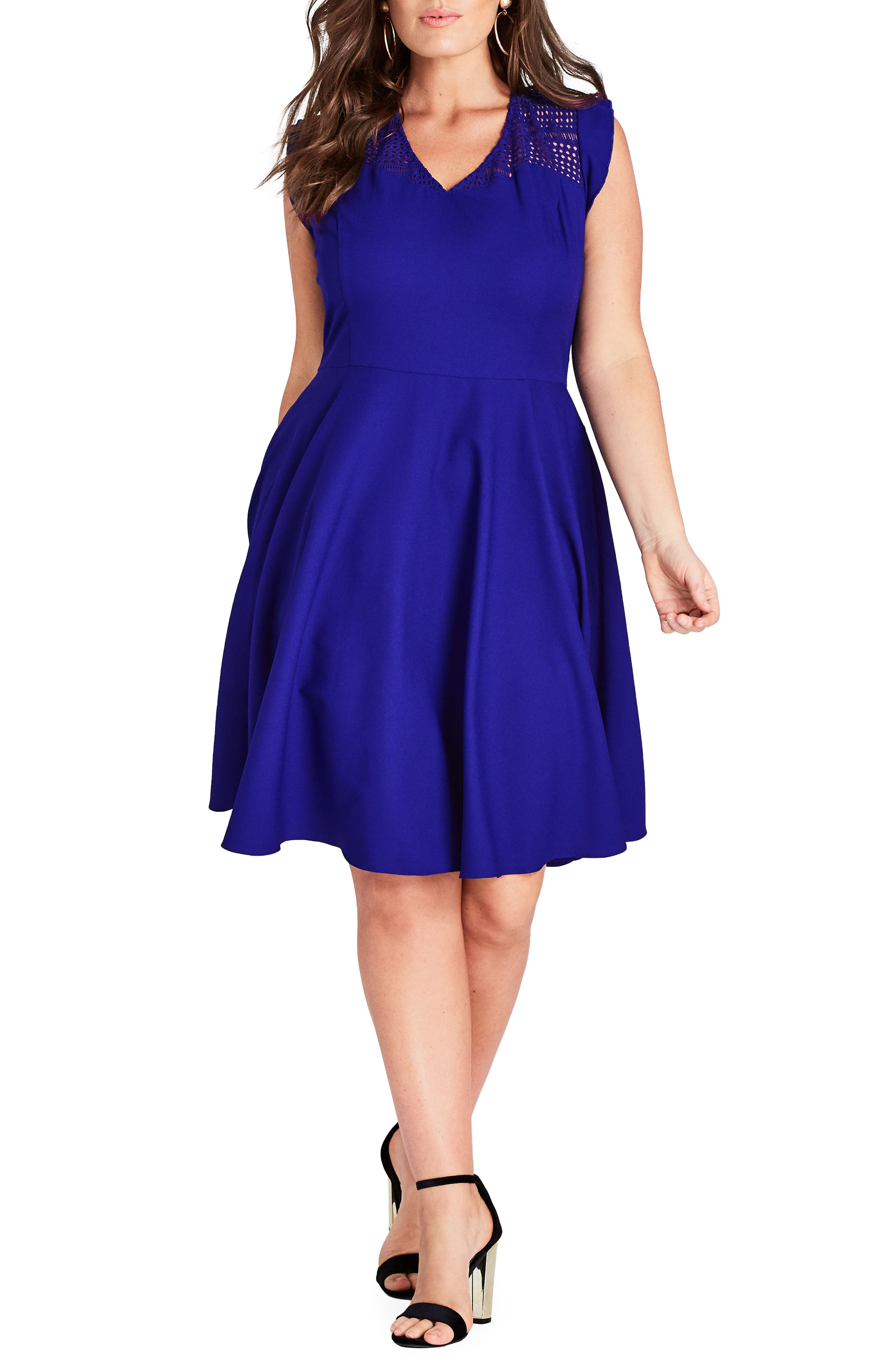 Plus Size City Chic First Place Crochet Yoke Fit & Flare Dress, Blue