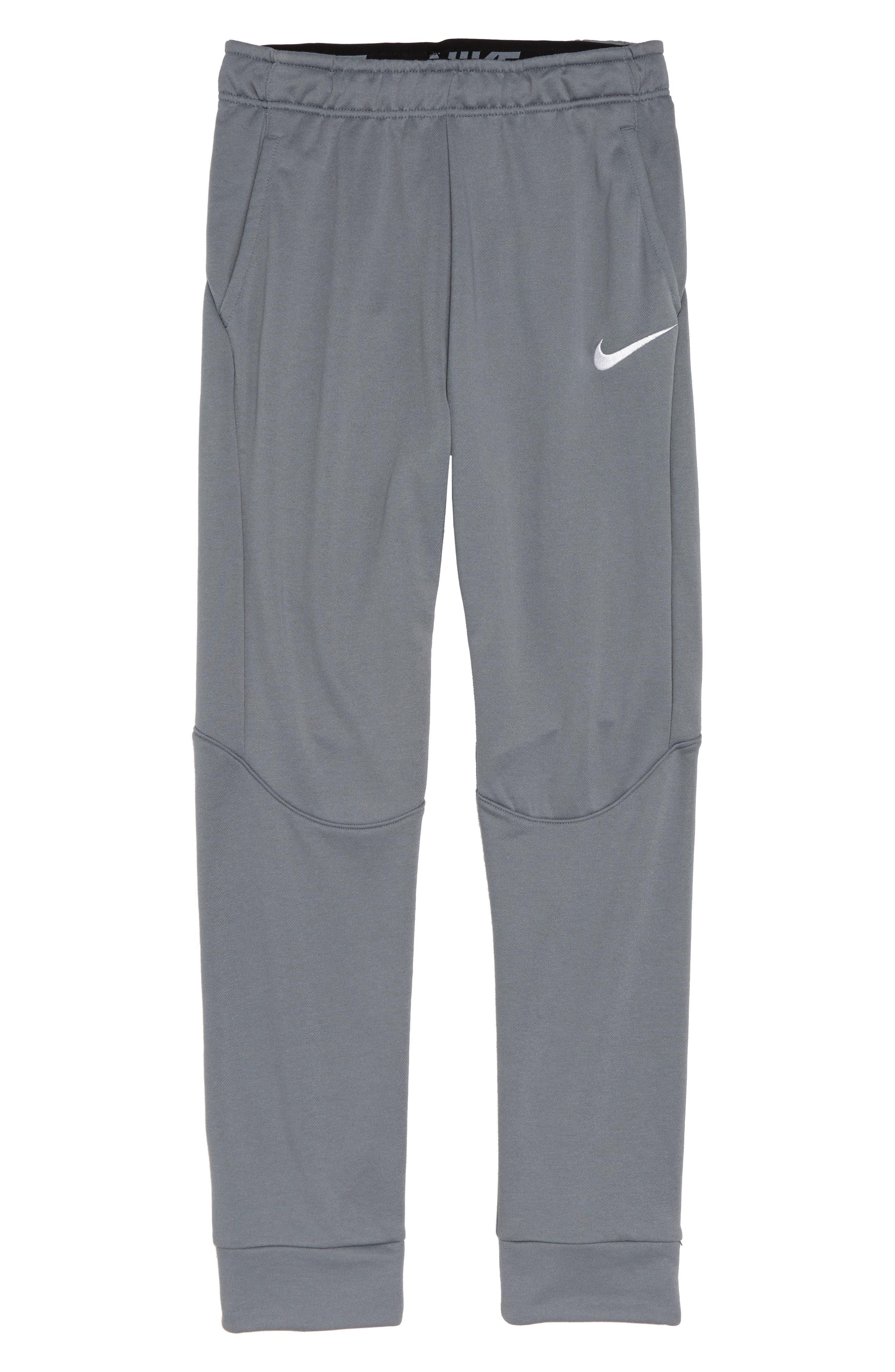 NIKE Dry Fleece Training Pants, Main, color, COOL GREY/ WHITE