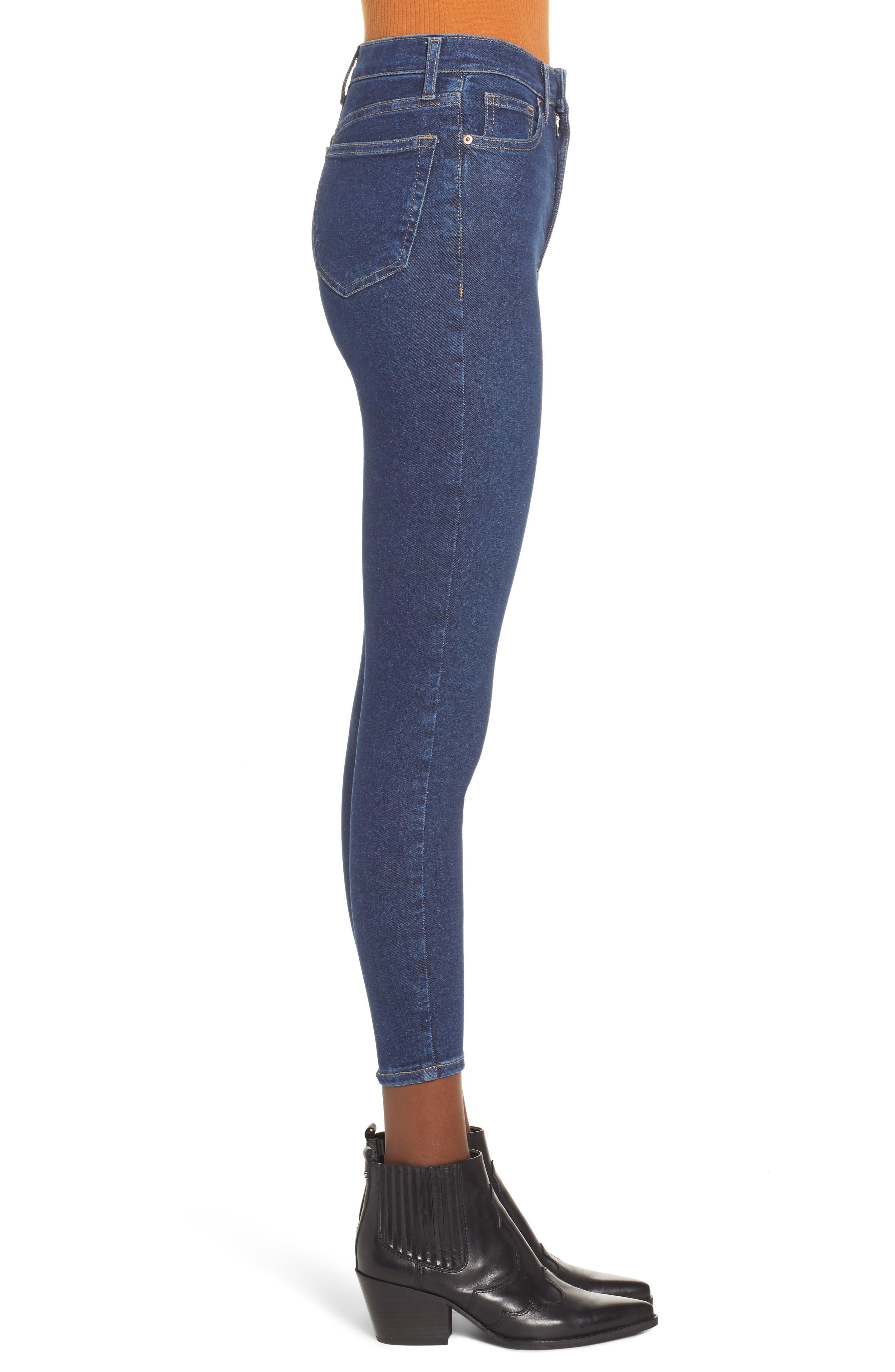 TOPSHOP, MOTO Jamie High Waist Skinny Jeans, Alternate thumbnail 4, color, INDIGO