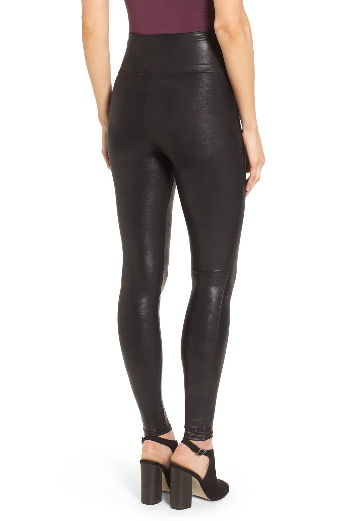 SPANX<SUP>®</SUP>, Faux Leather Leggings, Alternate thumbnail 8, color, BLACK