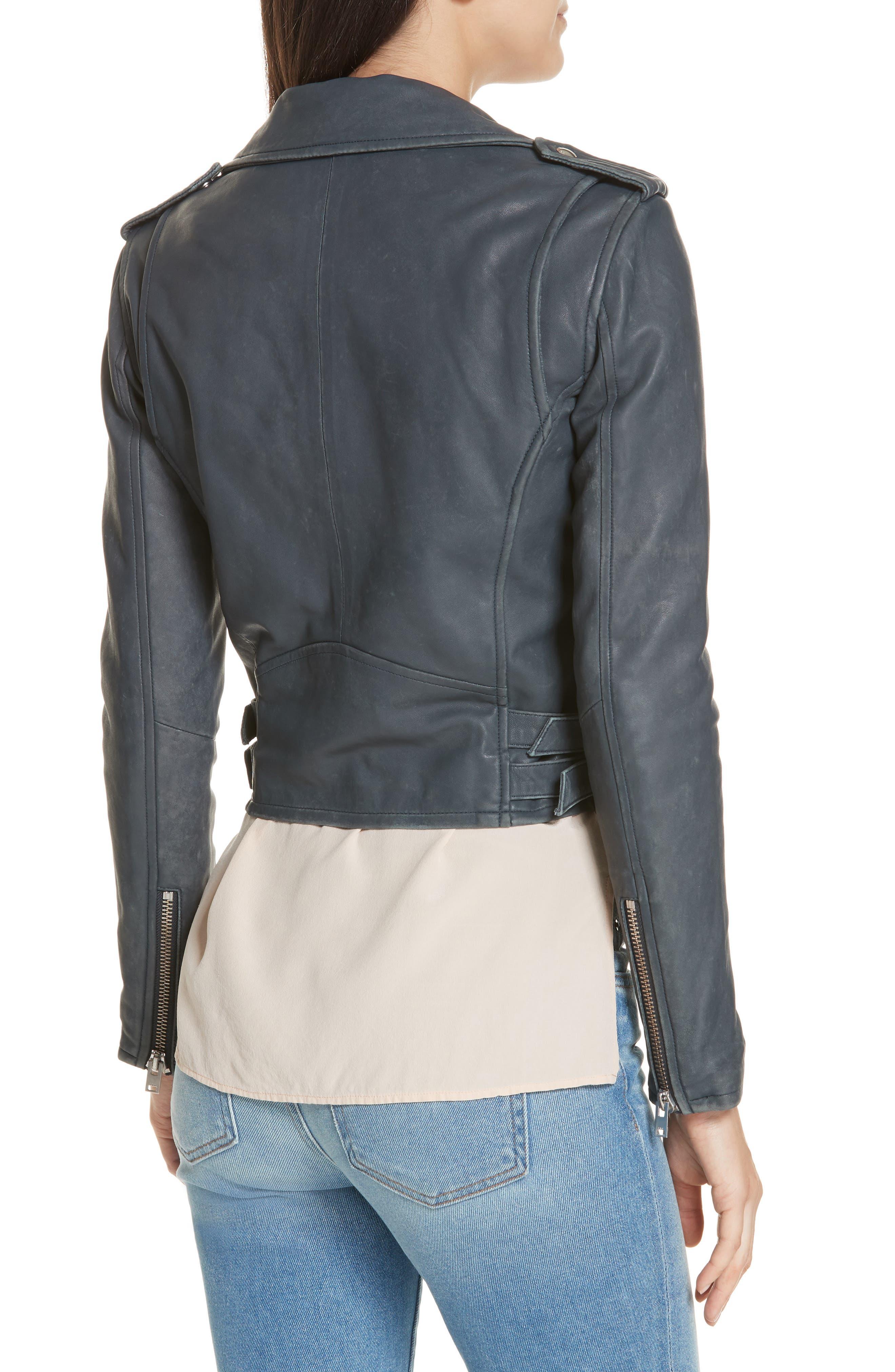 IRO, 'Ashville' Leather Jacket, Alternate thumbnail 2, color, GREY DENIM