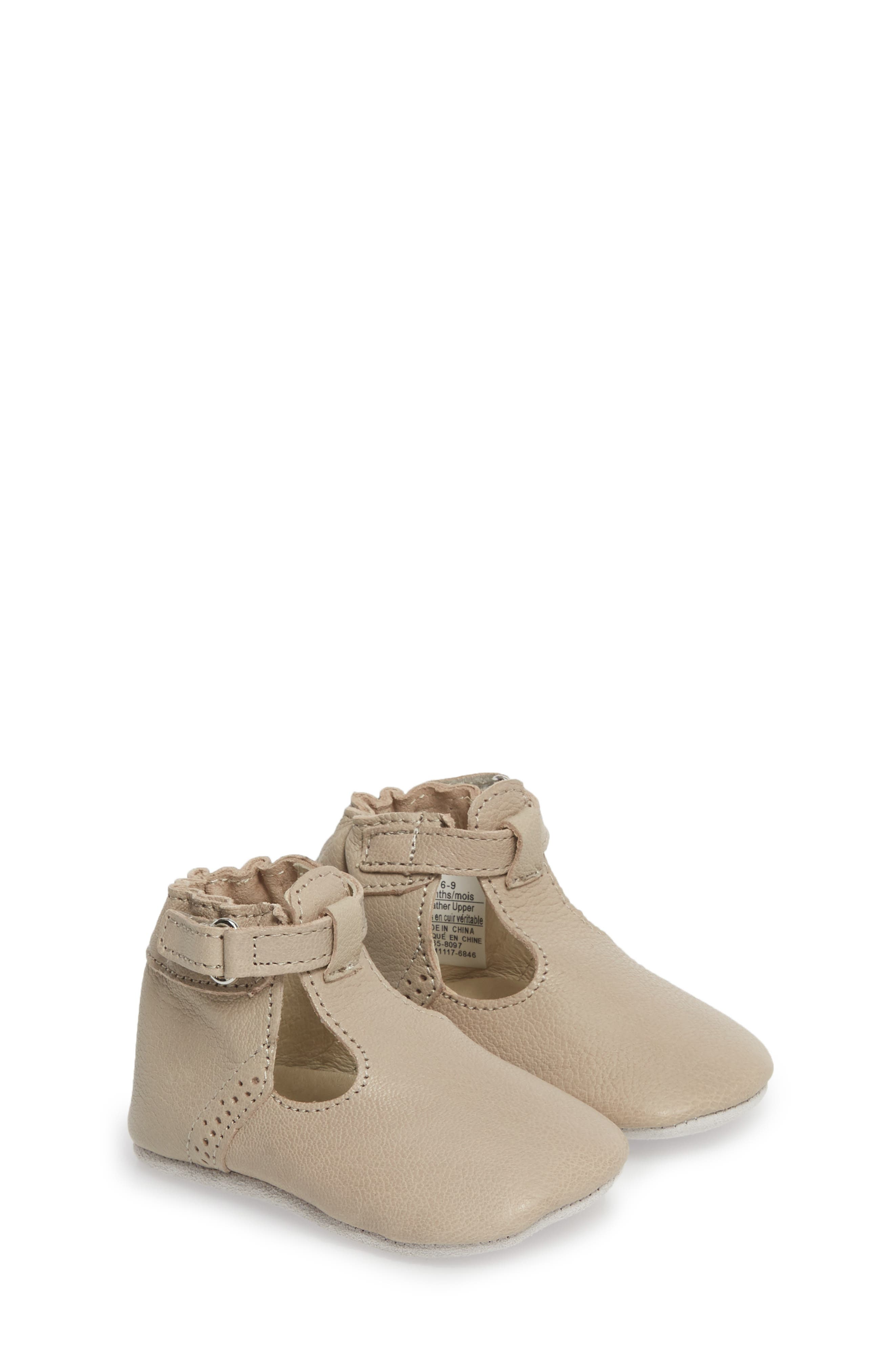 ROBEEZ<SUP>®</SUP>, Penny T-Strap Mary Jane Crib Shoe, Main thumbnail 1, color, TAUPE