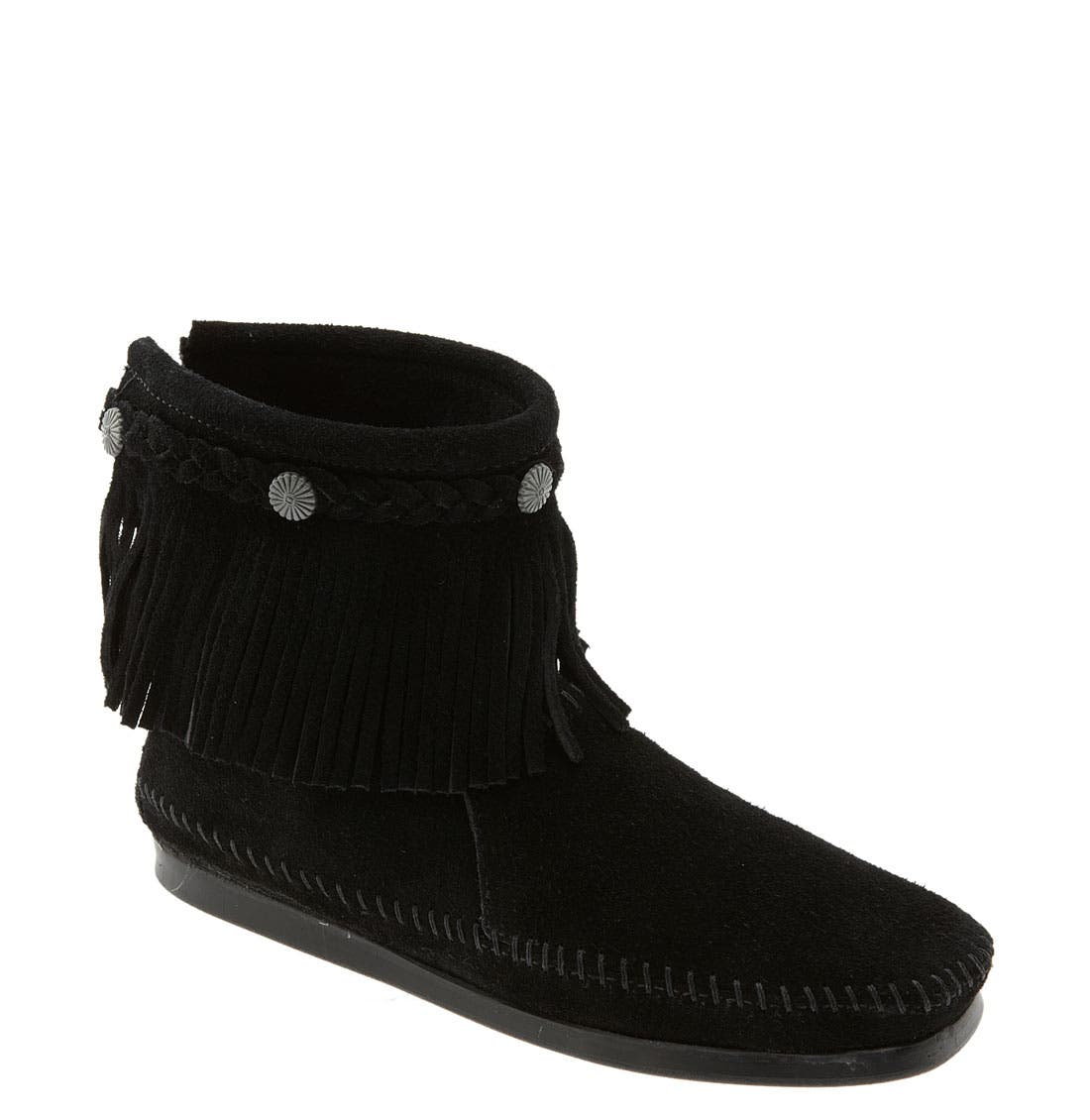 MINNETONKA, Fringed Moccasin Bootie, Main thumbnail 1, color, BLACK