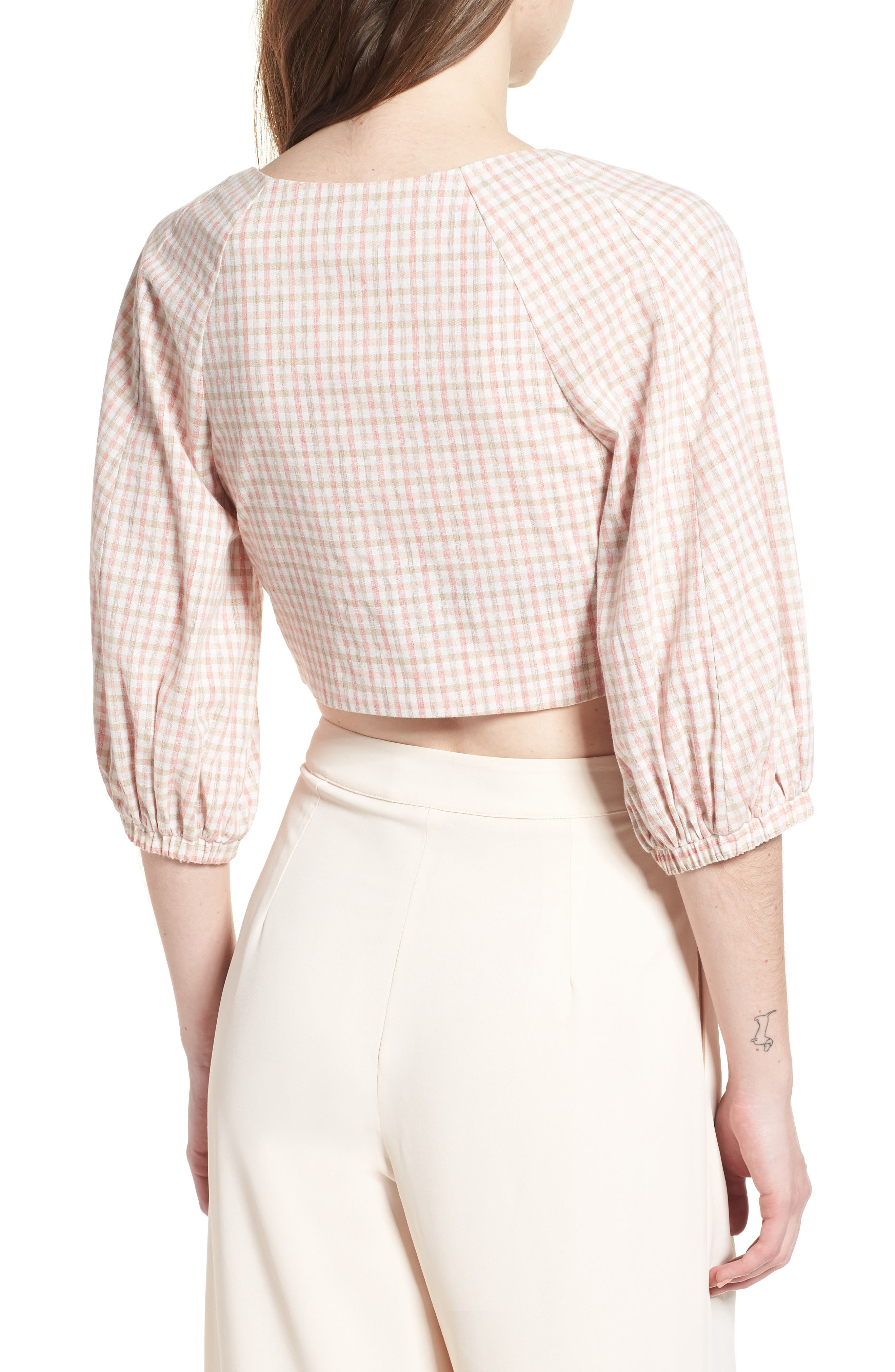 J.O.A., Chriselle x J.O.A. Ruched Front Crop Top, Alternate thumbnail 2, color, 650