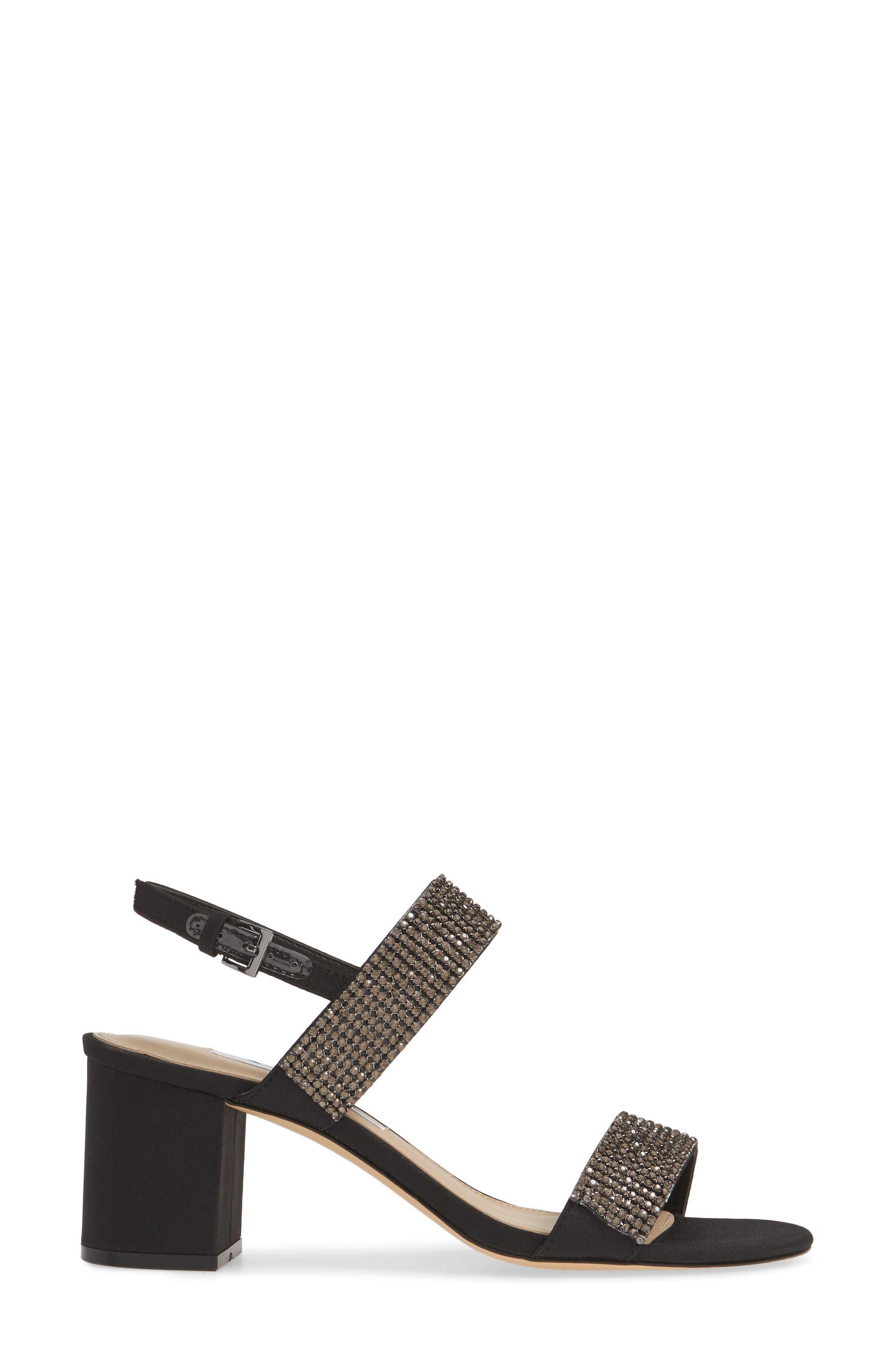 NINA, Naomi Crystal Embellished Sandal, Alternate thumbnail 3, color, BLACK FABRIC