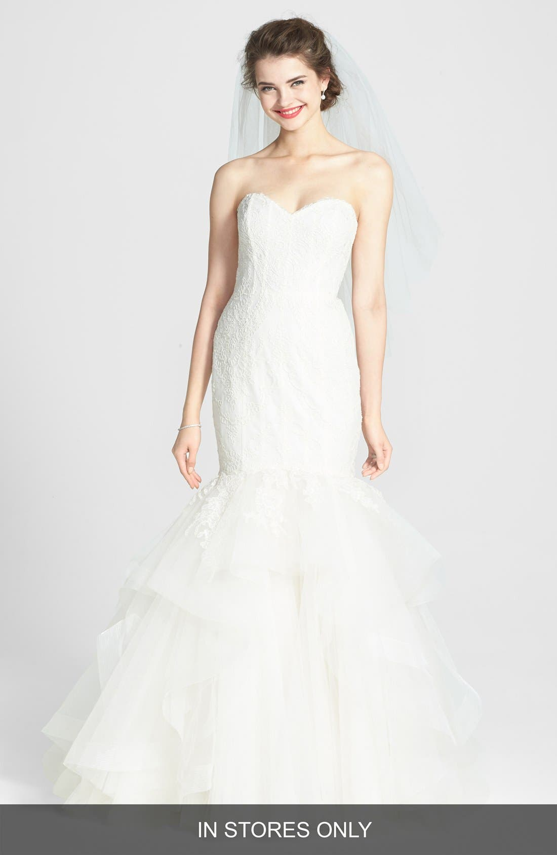 AMSALE Carson French Lace & Tulle Mermaid Wedding Dress, Main, color, 900